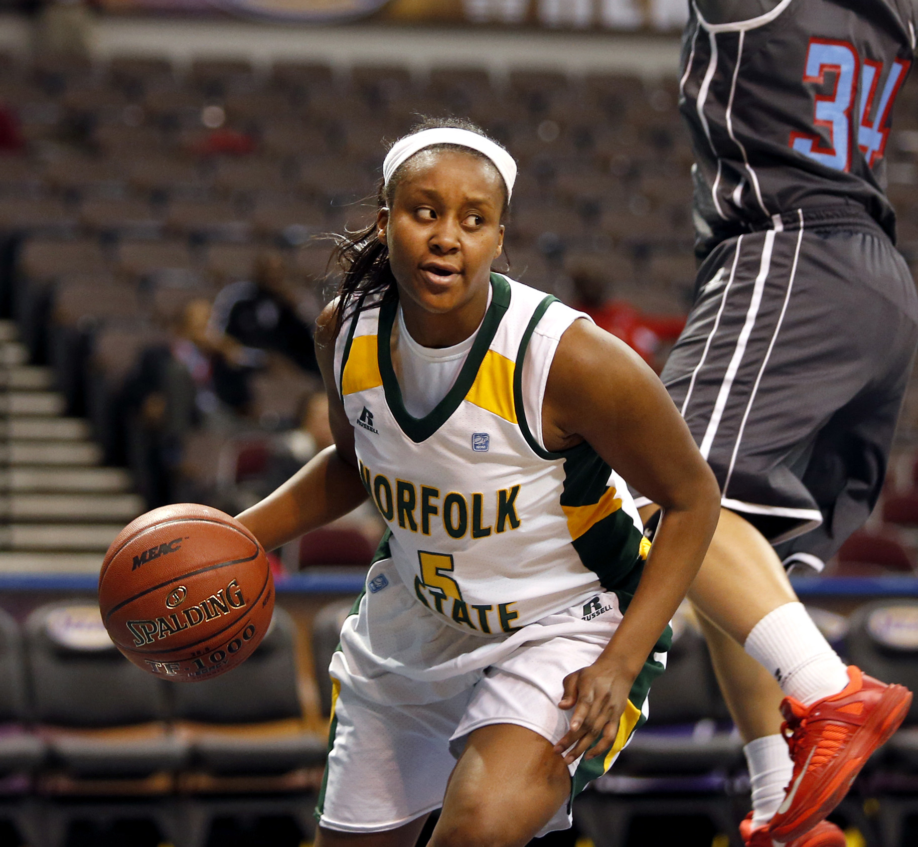 FILE - In this March 9, 2015, file photo, Norfolk State's Amber Brown moves the ball againstt Delaware State during a first round game at the Mid-Eastern Athletic Conference NCAA college women's basketball tournament in Norfolk, Va. A week ago, Amber Brow