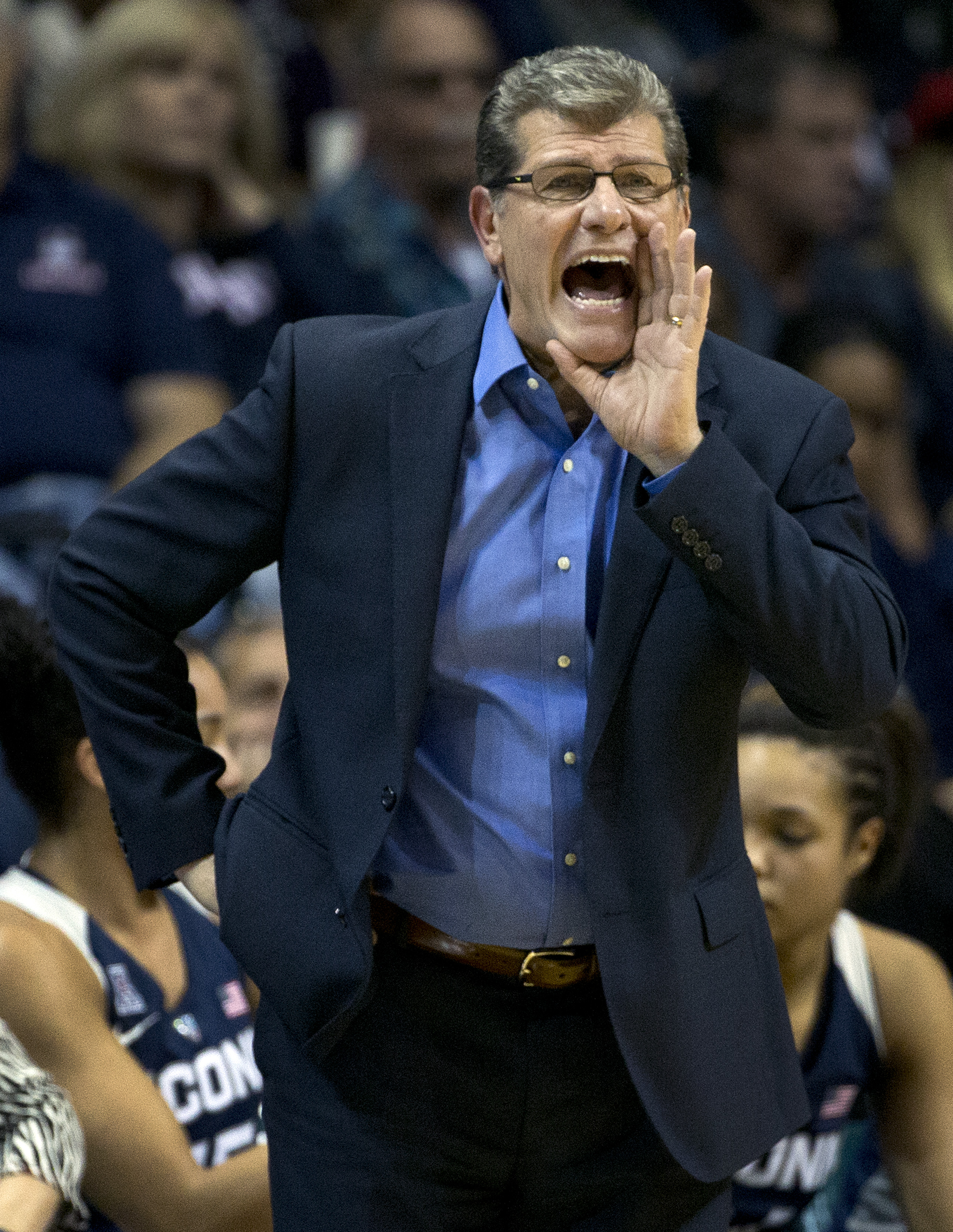 Connecticut head coach Geno Auriemma yells to his team during the first half of an NCAA college basketball game against South Florida, Sunday, Jan. 10, 2016, in Tampa, Fla. (AP Photo/Chris O'Meara)