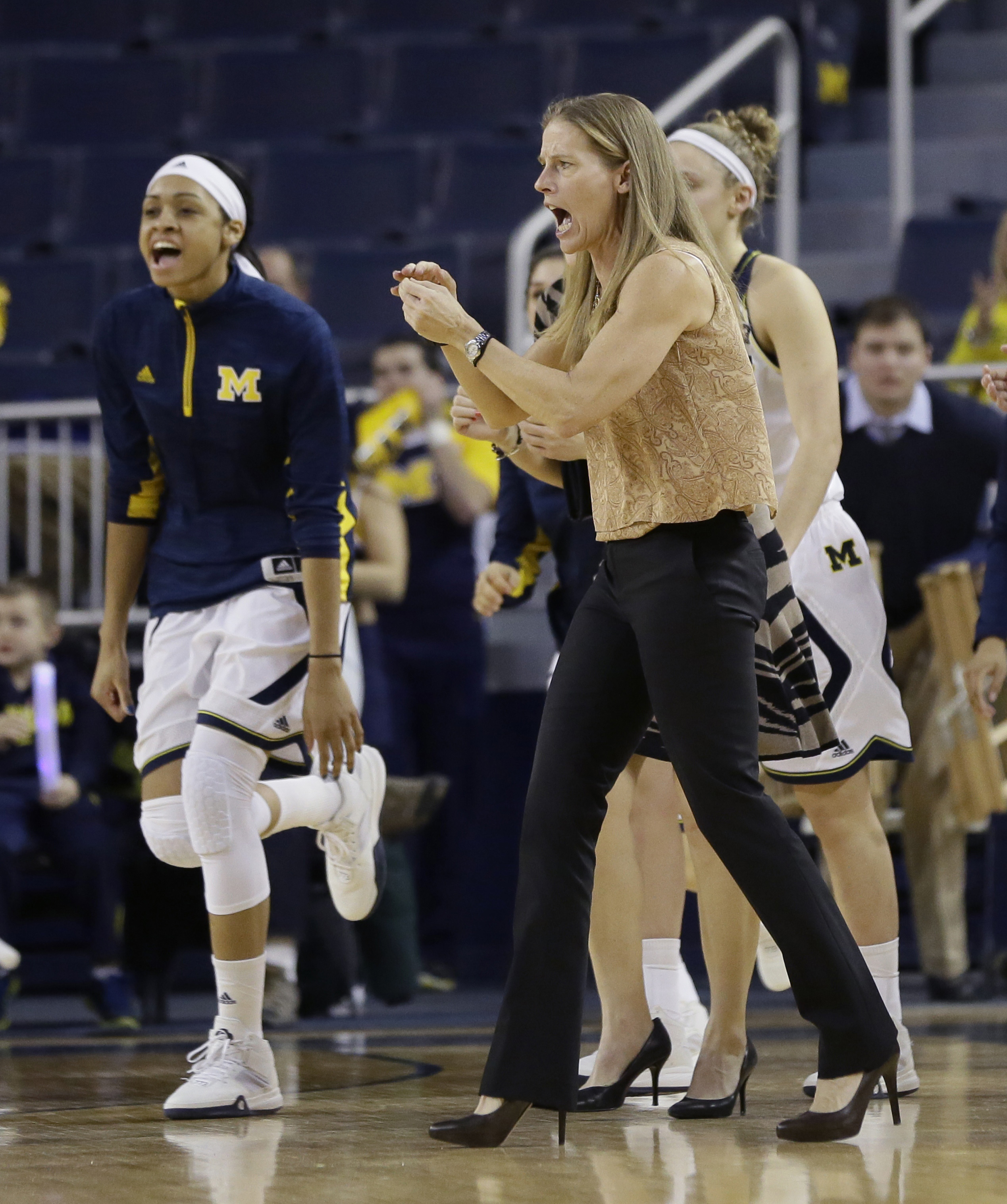 Michigan coach Kim Barnes Arico cheers during a timeout in the first half of the team's NCAA college basketball game against Maryland, Thursday, Jan. 14, 2016, in Ann Arbor, Mich. (AP Photo/Carlos Osorio)