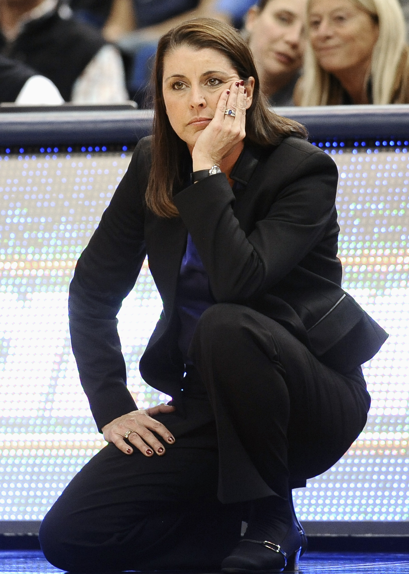 Duke head coach Joanne P. McCallie watches play during the second half of an NCAA college basketball game against Connecticut, Monday, Dec. 29, 2014, in Hartford, Conn. Connecticut won 83-52.  (AP Photo/Jessica Hill)