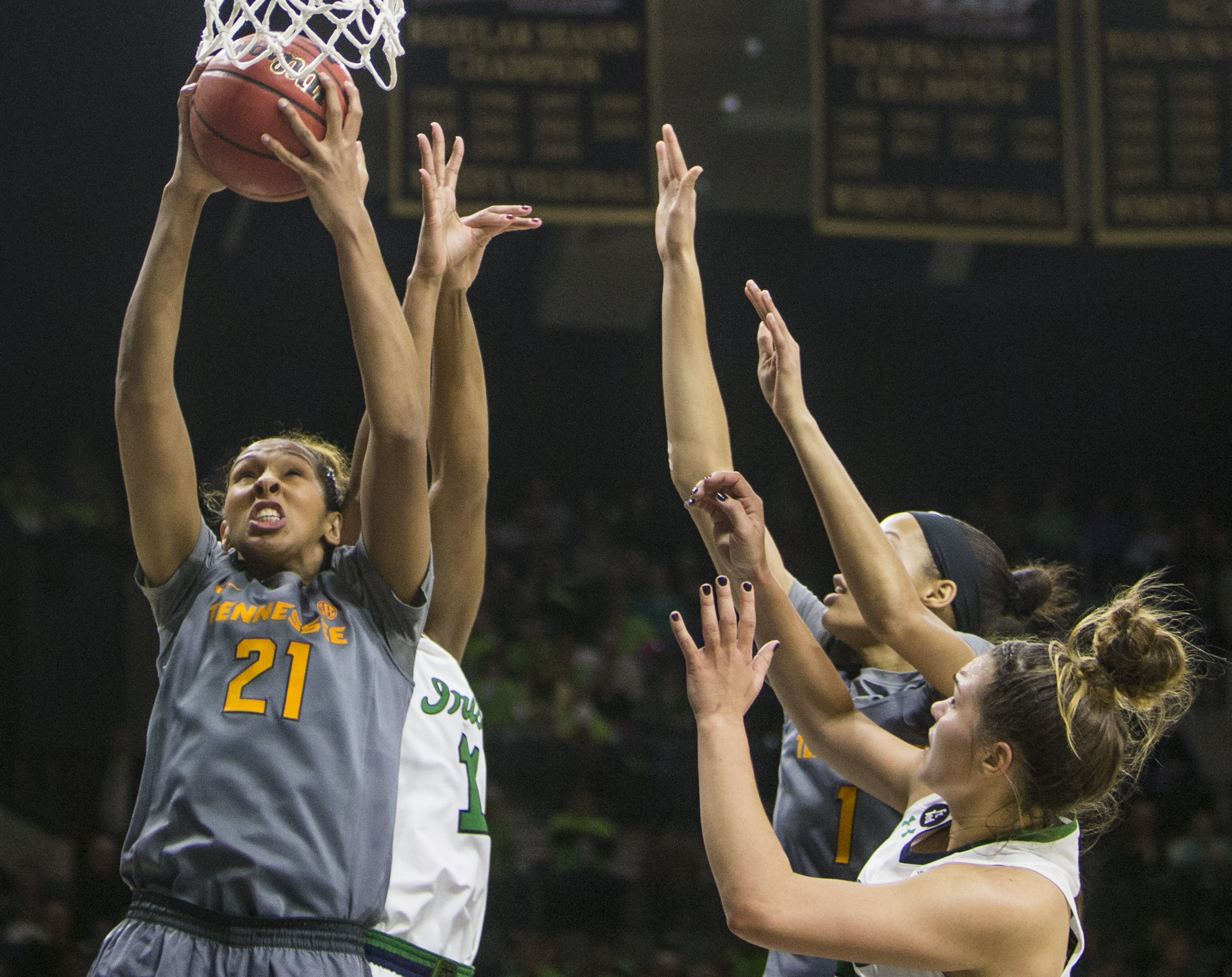 Tennessee's Mercedes Russell (21) grabs a rebound during the first half of an NCAA college basketball game, Monday, Jan. 18, 2016, in South Bend, Ind. (AP Photo/Robert Franklin)