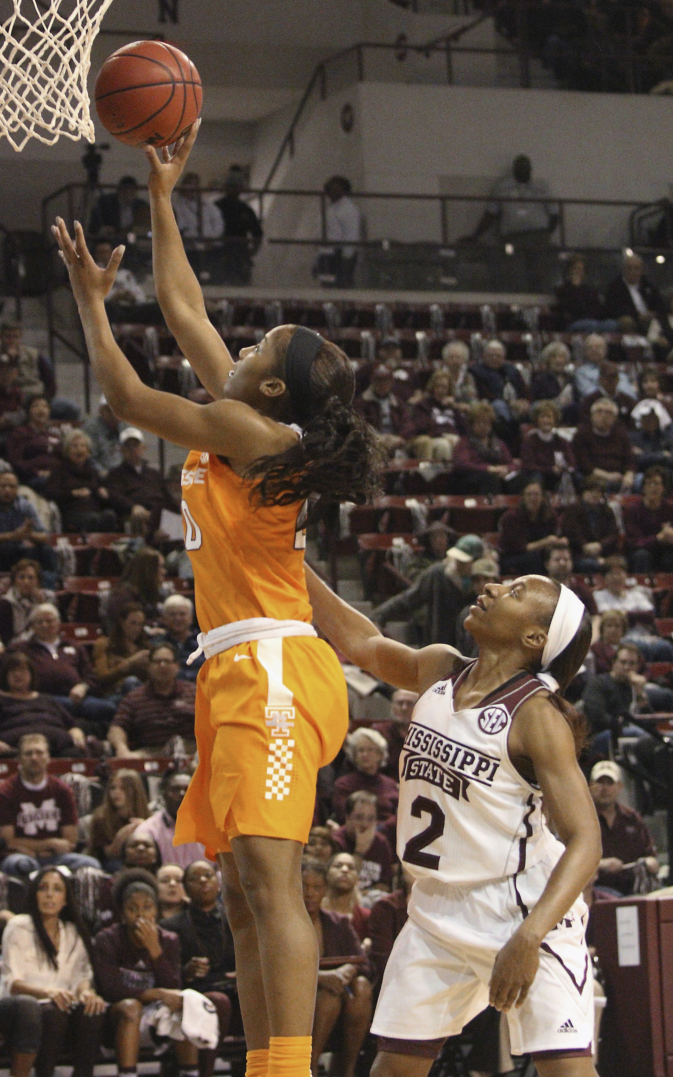 Tennessee guard Jordan Reynolds (0) shoots in front of Mississippi State guard Morgan William (2) during the first half of an NCAA college basketball game in Starkville, Miss., Thursday, Jan. 28, 2016. (AP Photo/Jim Lytle)