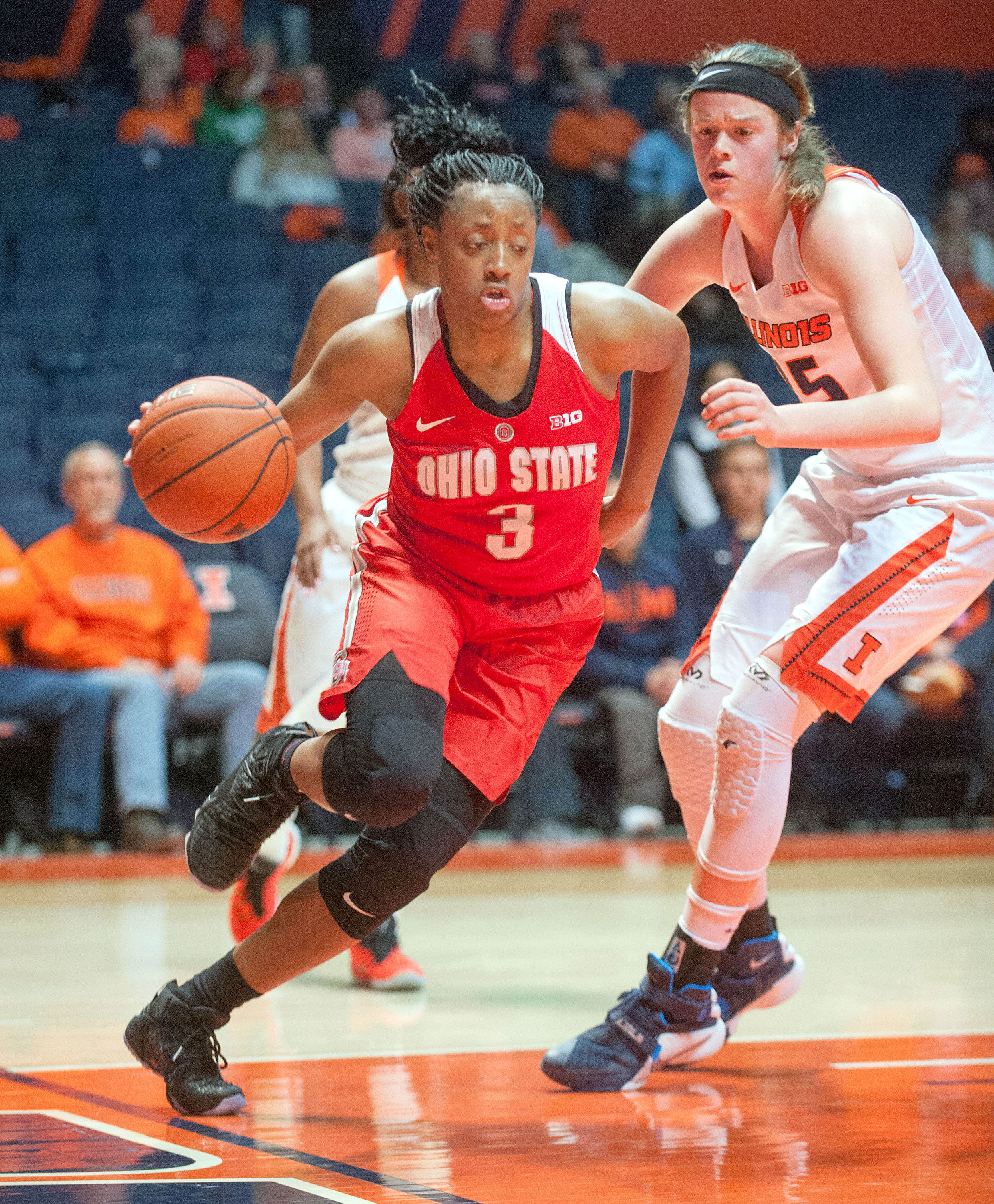 Ohio State guard Kelsey Mitchell (3) drives the baseline past Illinois forward Alex Wittinger (35) in the second half of an NCAA college basketball game at the State Farm Center in Champaign, Ill., Monday, Feb. 1, 2016. Ohio State won 80-70. (AP Photo/Ric
