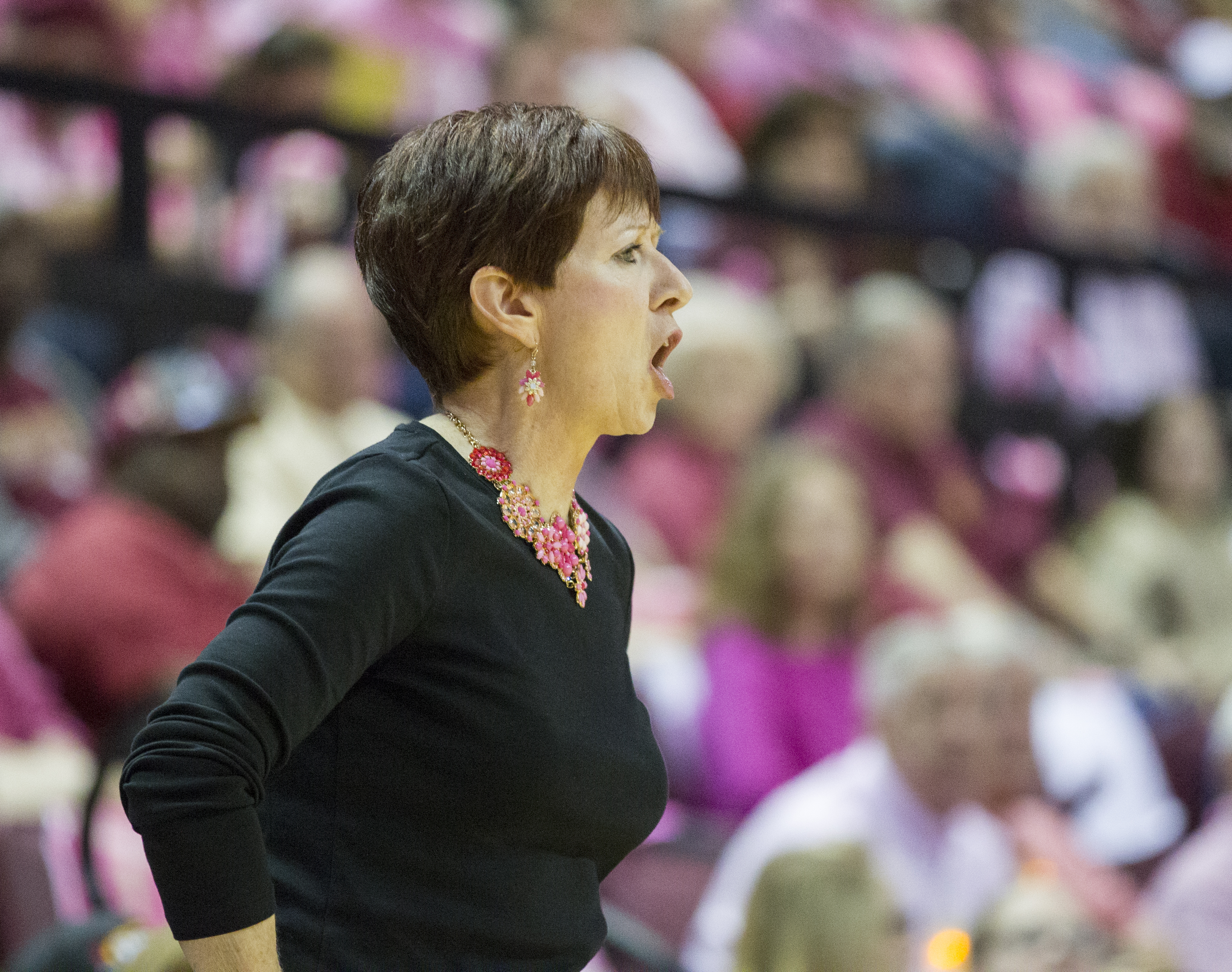 Notre Dame head coach Muffet McGraw gives instructions in the first half of an NCAA college basketball game against Florida State in Tallahassee, Fla., Monday, Feb. 22, 2016. (AP Photo/Mark Wallheiser)