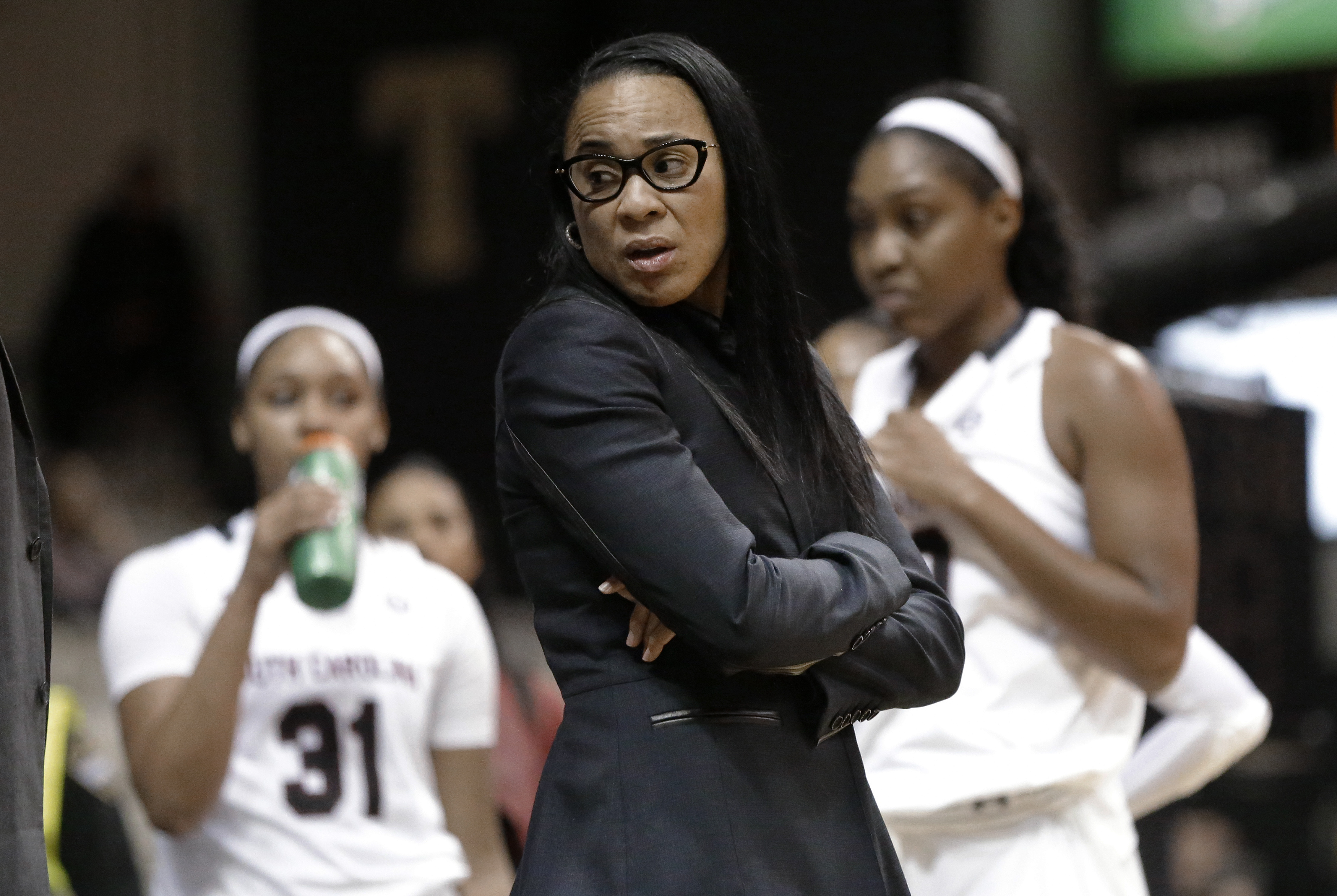 FILE - In this Jan. 7, 2016, file photo, South Carolina coach Dawn Staley talks during a timeout in the first half of the team's NCAA college basketball game against Vanderbilt in Nashville, Tenn. Staley, also an assistant coach with the U.S. women's team