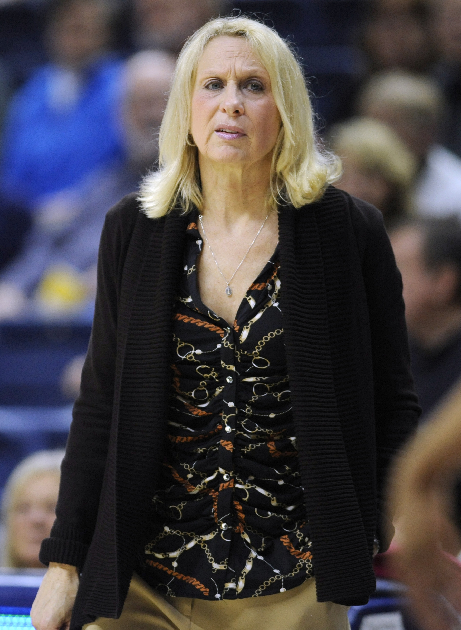 SMU coach Rhonda Rompola watches play in the first half of the team's NCAA college basketball game against Connecticut, Wednesday, Feb. 24, 2016, in Storrs, Conn. (AP Photo/Jessica Hill)