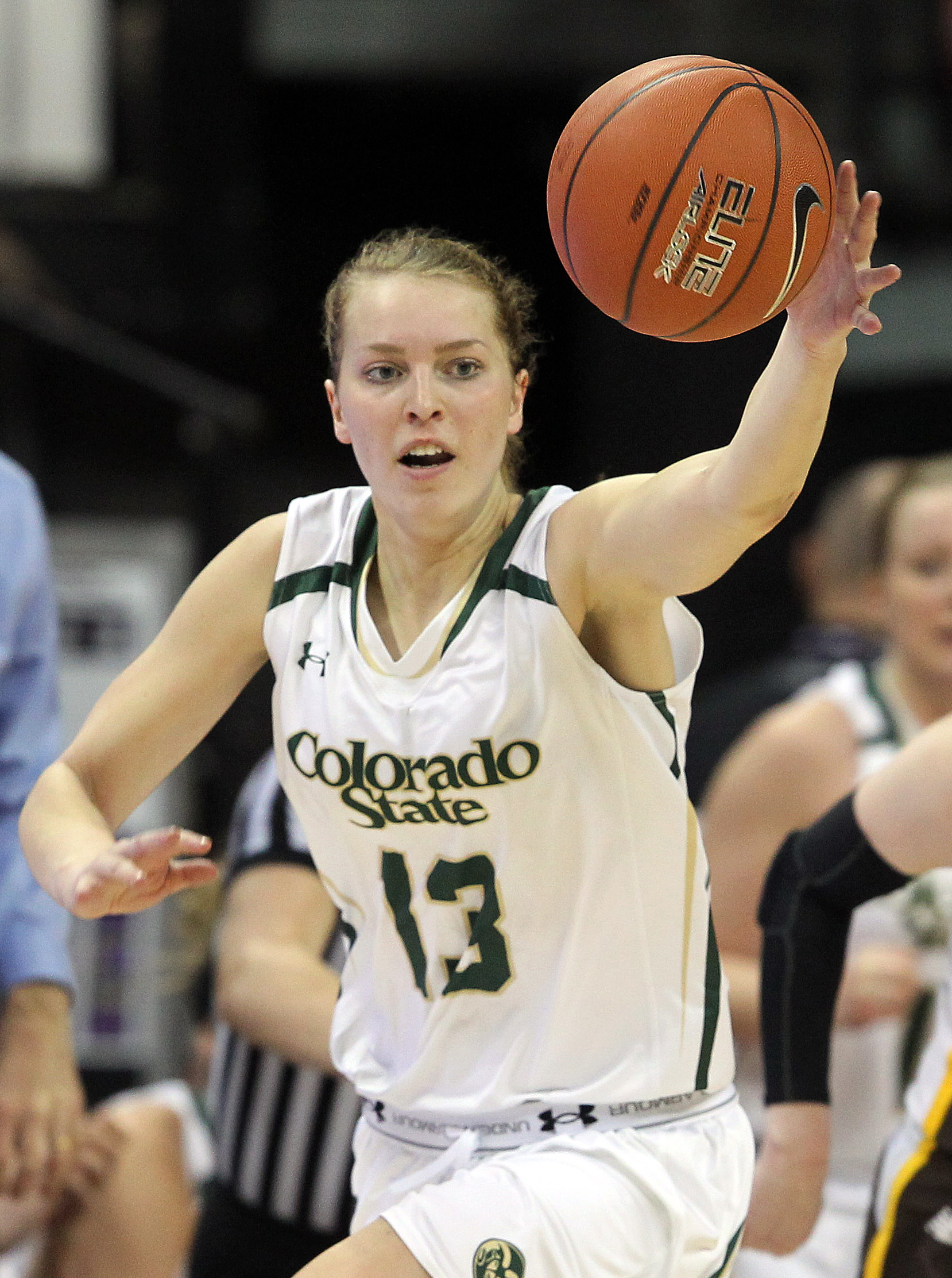 FILE - In this Friday, March 14, 2014 file photo, Colorado State's Ellen Nystrom goes after a loose ball during the first half of an NCAA college basketball game in the semifinals of the Mountain West Conference tournament in Las Vegas. Swedish do-everyth