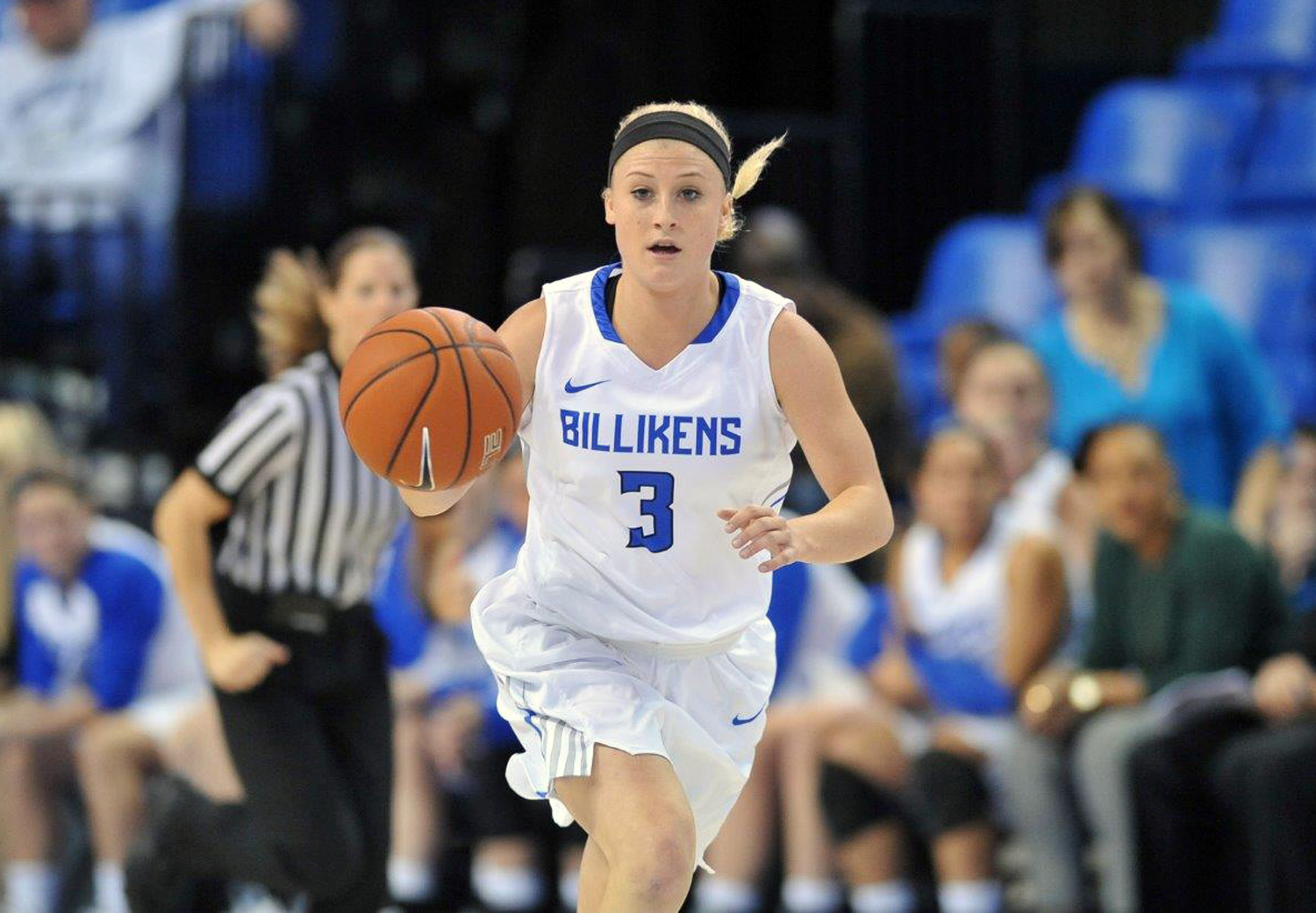 This recent undated photo provided by Saint Louis University shows Saint Louis basketball player Jackie Kemph. It's been a season to savor for Saint Louis. The Billikens earned a share for their first ever conference title and are the No. 2 seed in this w