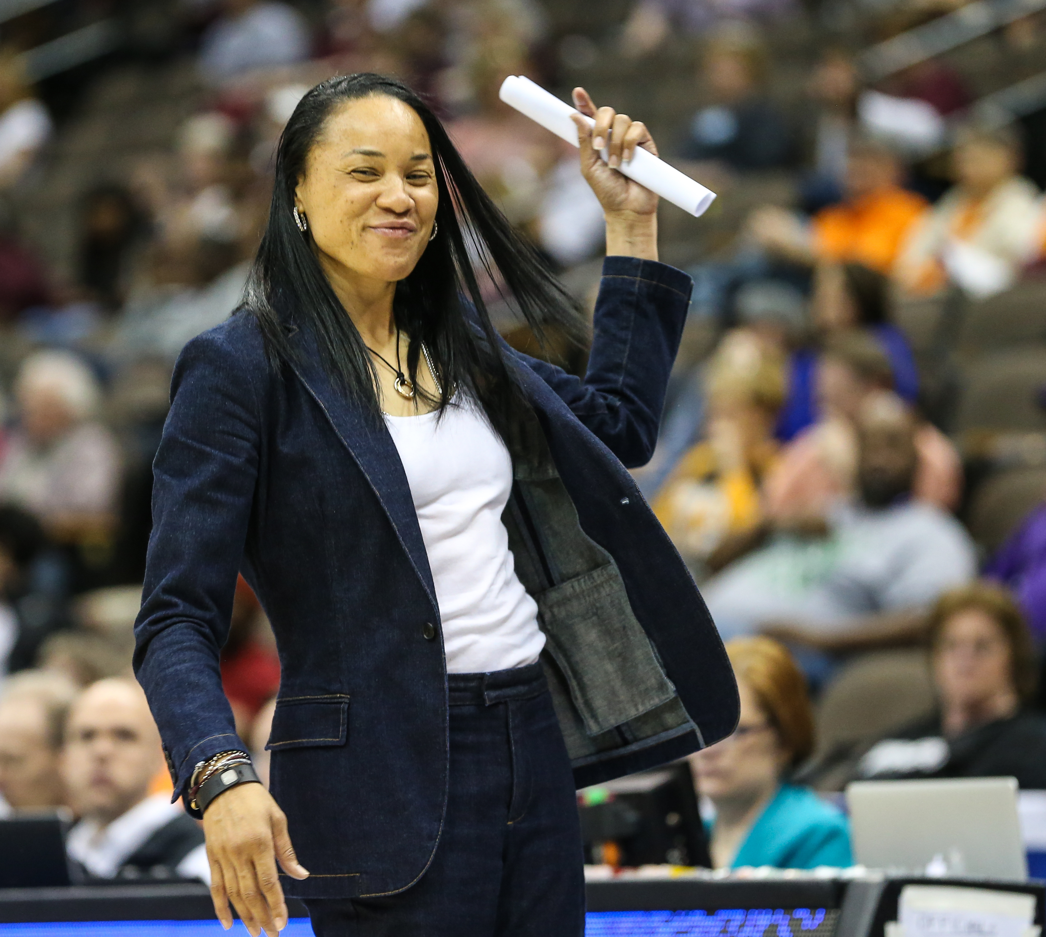 South Carolina head coach Dawn Staley during the third quarter of NCAA college basketball against Mississippi State in the Southeastern Conference women's tournament final in Jacksonville, Fla., Sunday, March 6, 2016. (AP Photo/Gary McCullough)