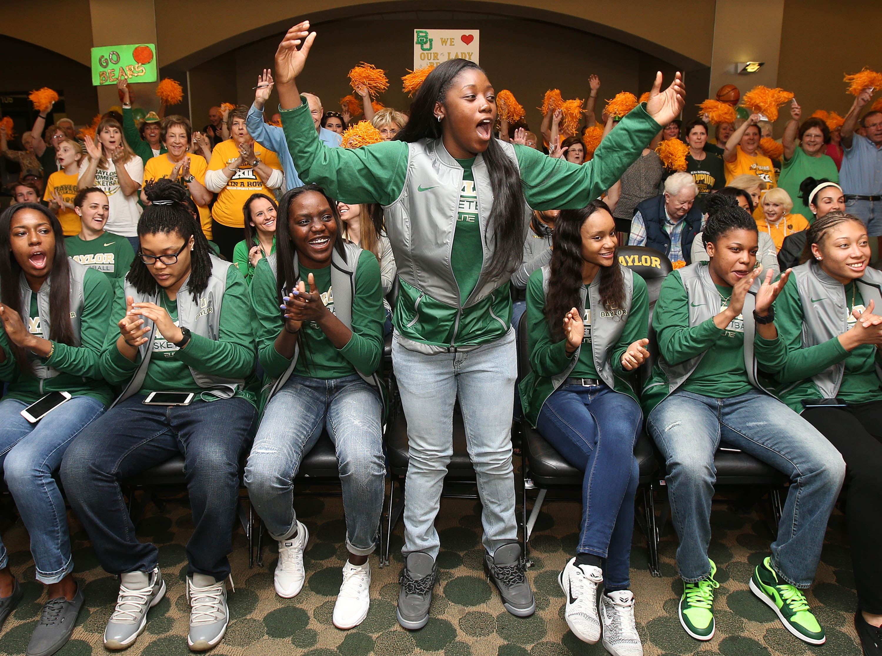 Baylor's Alexis Jones reacts with her teammates during the women's NCAA college basketball tournament selection show in Waco, Texas, Monday, March 14, 2016. Baylor was selected as a No. 1 seed and will play Idaho in the first round of the NCAA tournament.