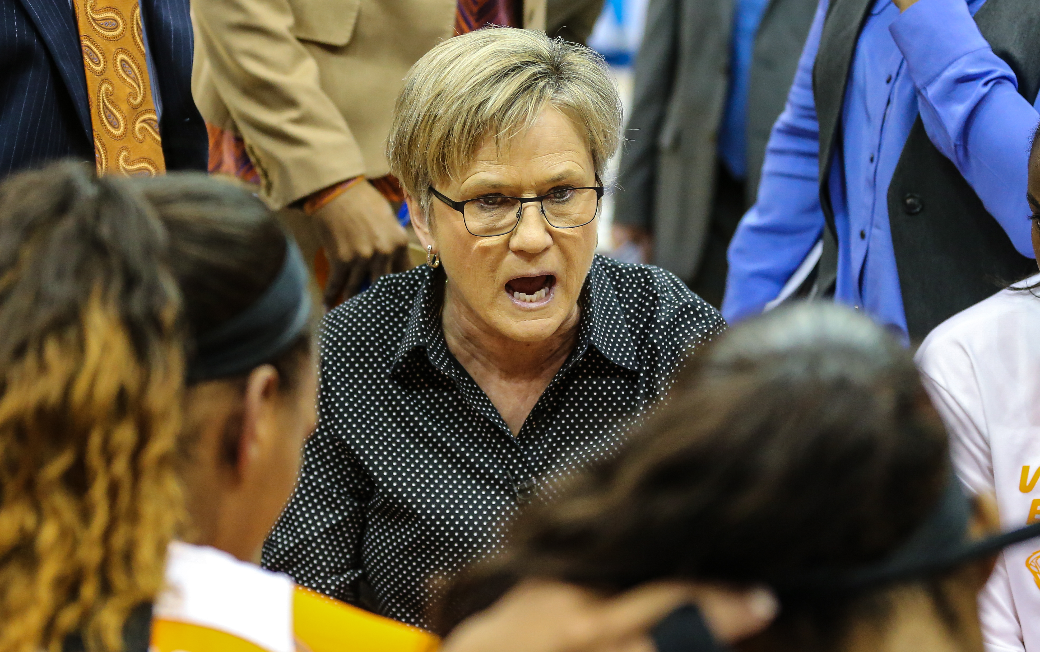 FILE- In this March 5, 2016, file photo, Tennessee head coach Holly Warlick speaks with her team during an NCAA college basketball game against Mississippi State in the Southeastern Conference women's tournament semifinal in Jacksonville, Fla. Tennessee h