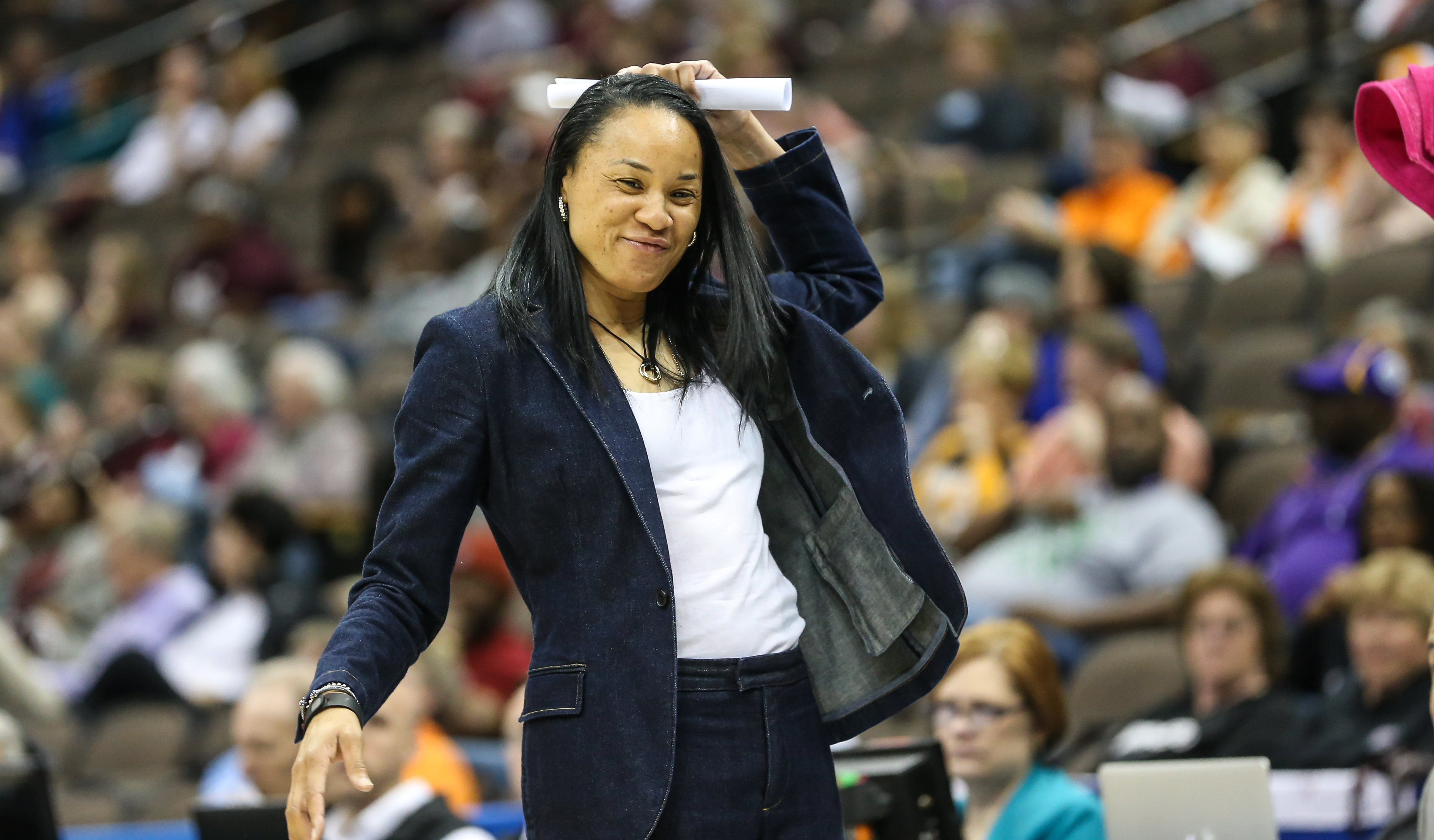 FILE - In this March 6, 2016, file photo, South Carolina head coach Dawn Staley is shown during the third quarter of an NCAA college basketball against Mississippi State in the Southeastern Conference women's tournament final in Jacksonville, Fla.  Dawn S