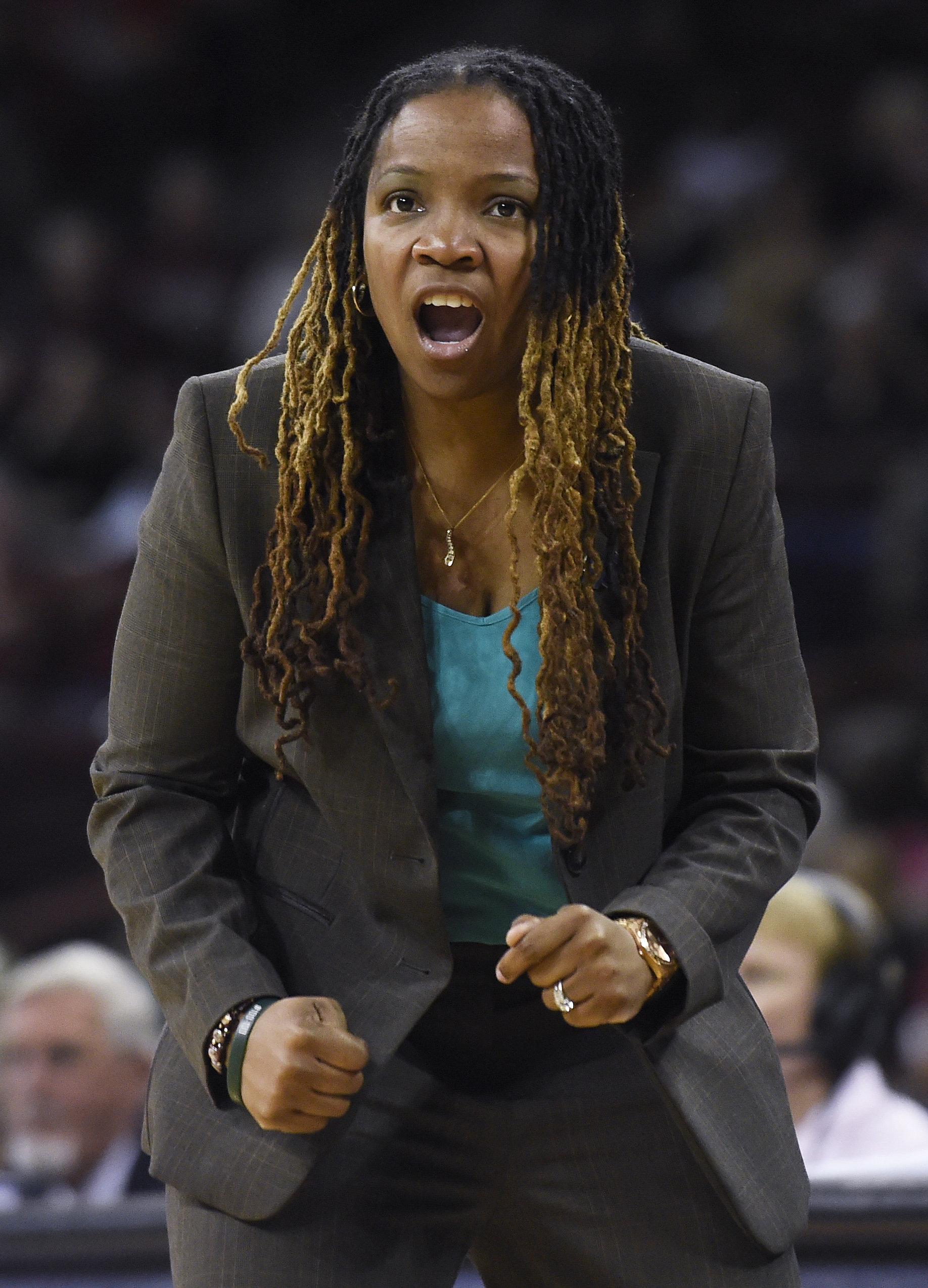 Jacksonville head coach Yolett McPhee-McCuin gives directions to her players during a first-round women's college basketball game against South Carolina in the NCAA Tournament on Friday, March 18, 2016, in Columbia, S.C. (AP Photo/Rainier Ehrhardt)