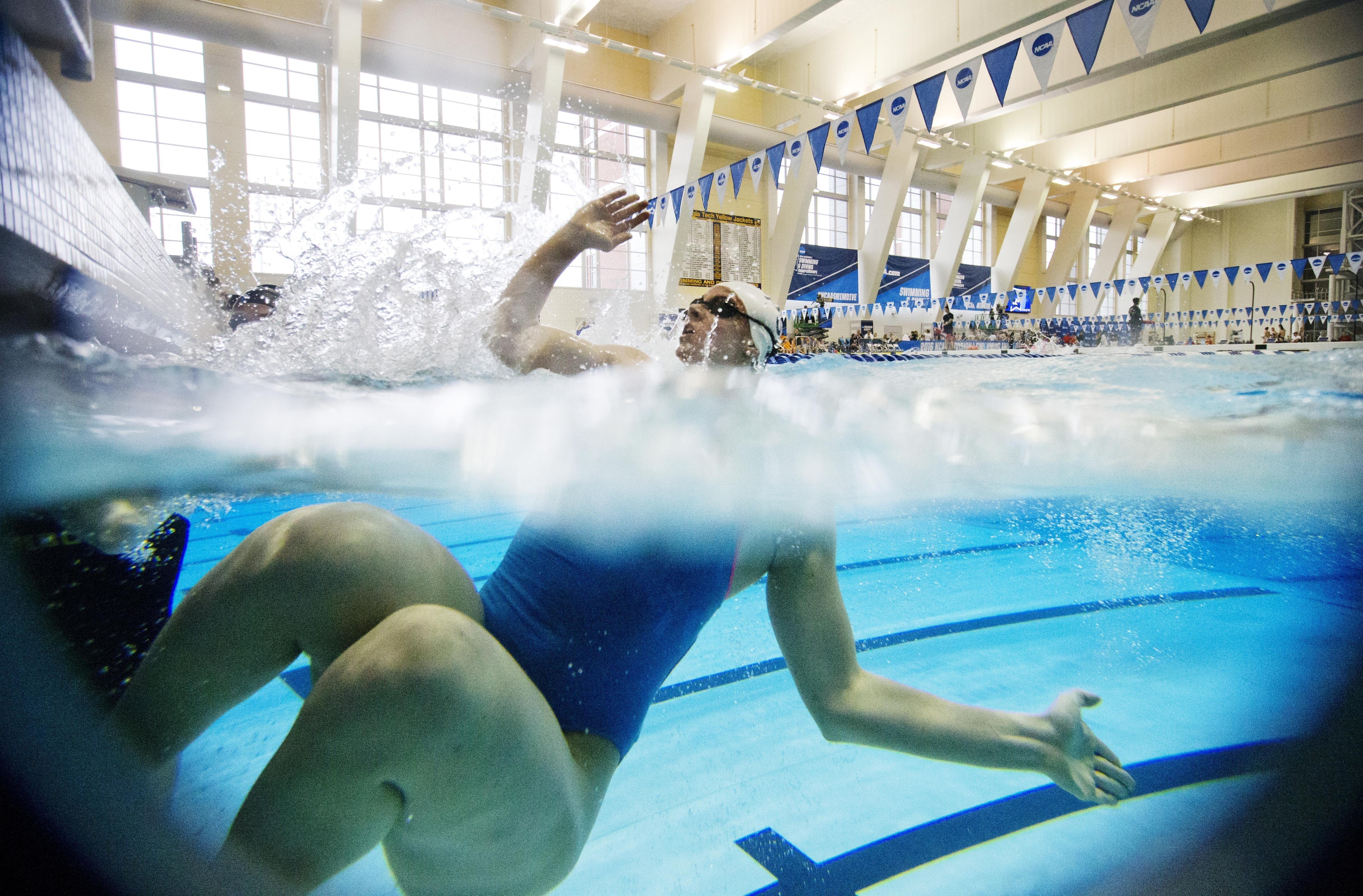 Penn State's Katie Rowe pushes off the wall while warming up before the NCAA women's swimming and diving championships at Georgia Tech Saturday, March 19, 2016, in Atlanta. (AP Photo/David Goldman)
