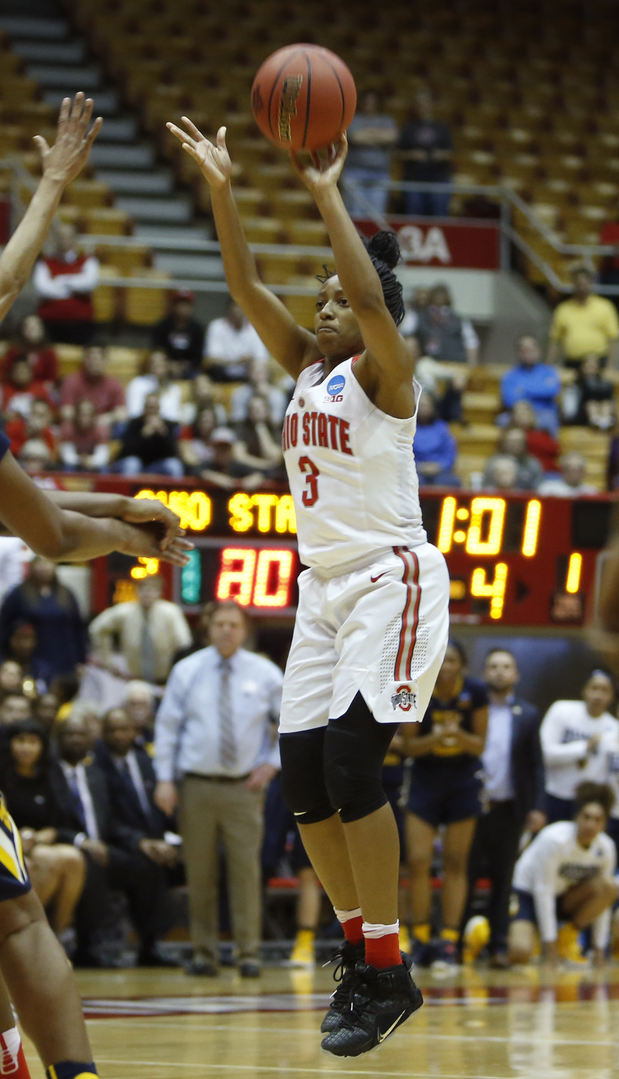 Ohio State's Kelsey Mitchell takes a 3-point shot against West Virginia during a second-round women's college basketball game in the NCAA Tournament Sunday, March 20, 2016, in Columbus, Ohio. (AP Photo/Jay LaPrete)