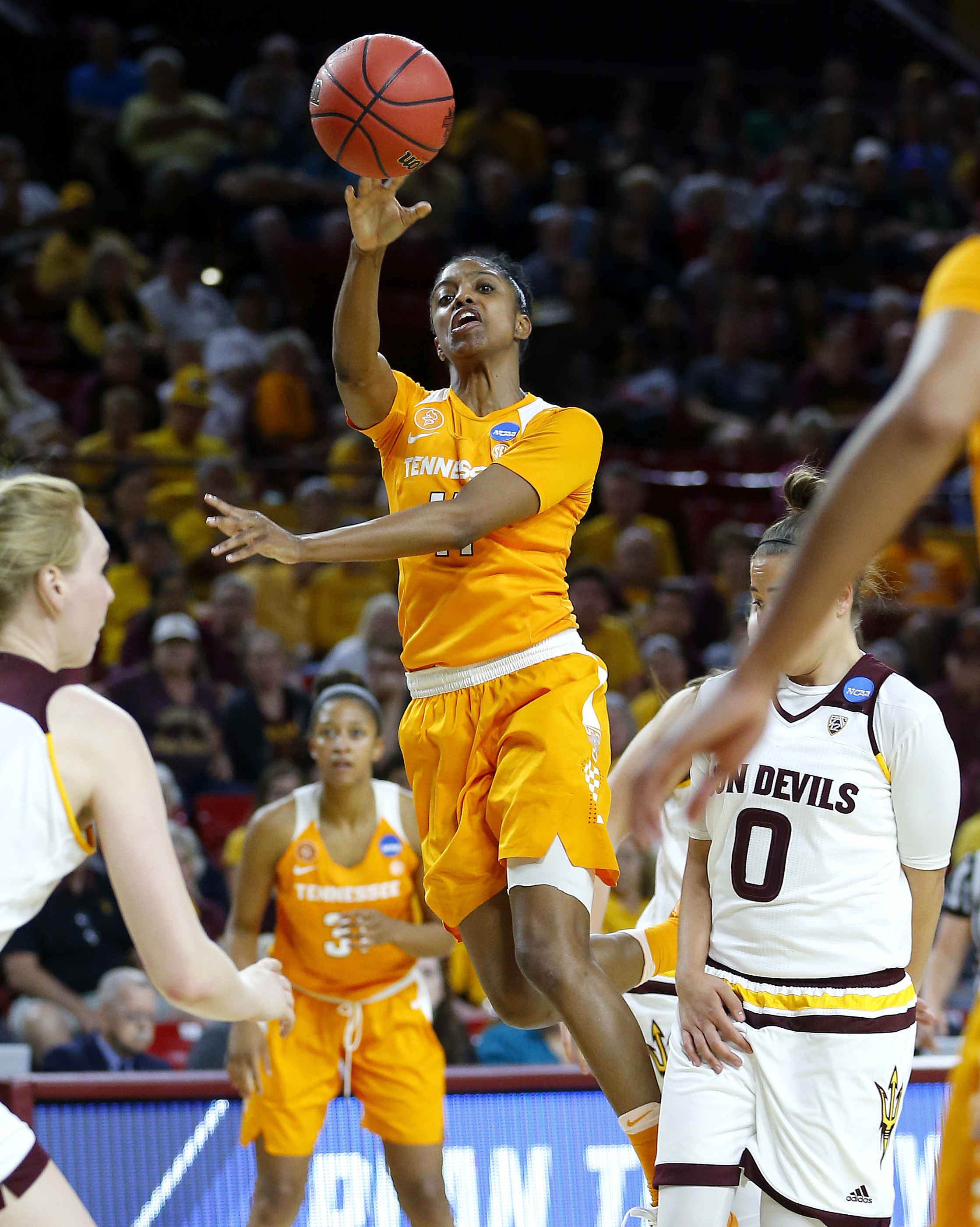 Tennessee guard Diamond DeShields (11) shoots over Arizona State guard Katie Hempen (0) during the first half of a second-round NCAA women's college basketball game, Sunday, March 20, 2016, in Tempe, Ariz. (AP Photo/Matt York)
