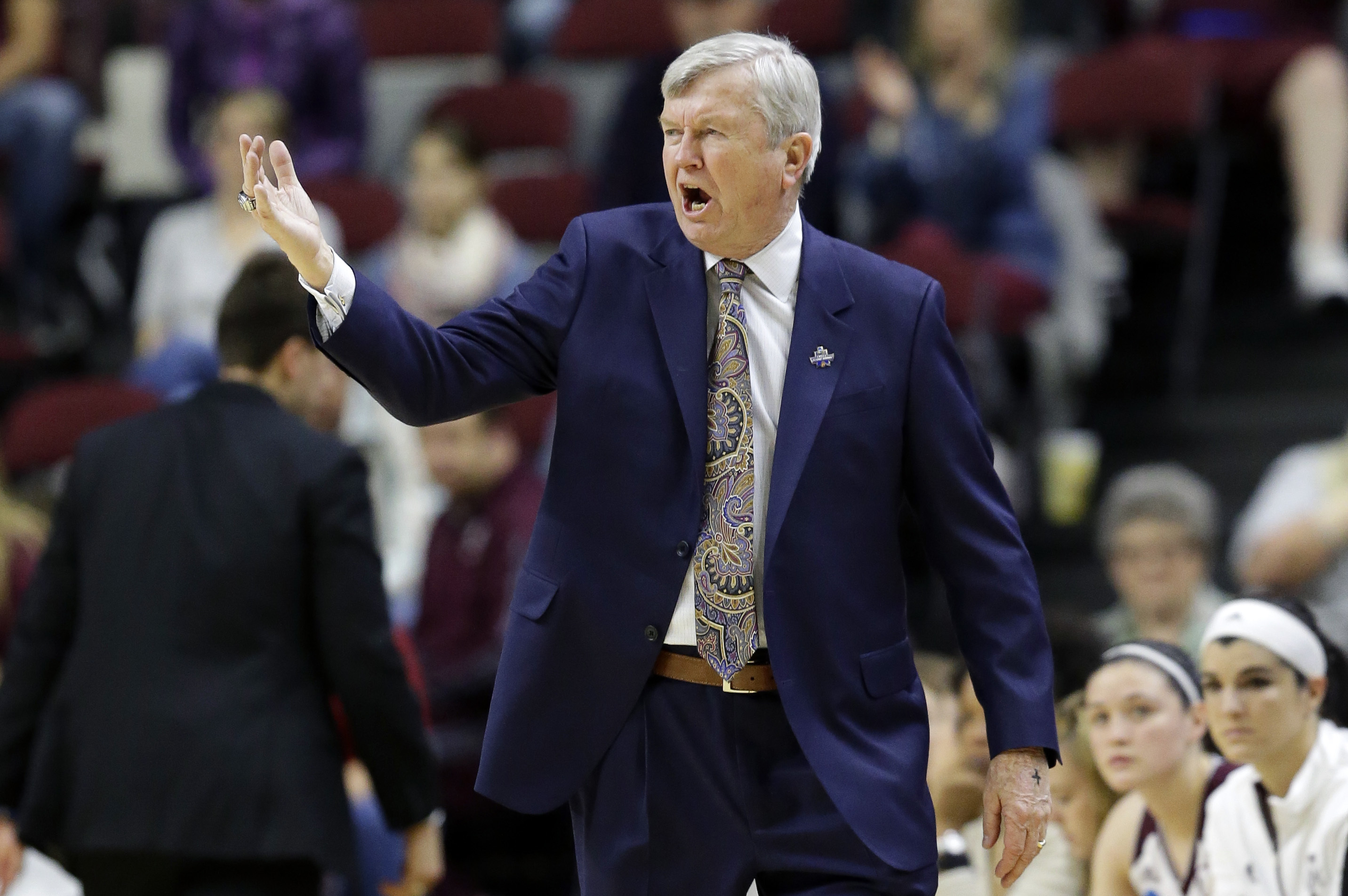Texas A&M head coach Gary Blair directs his players during the first half of a college basketball game against Florida State in the second round of the NCAA tournament Monday, March 21, 2016, in College Station, Texas. (AP Photo/Pat Sullivan)