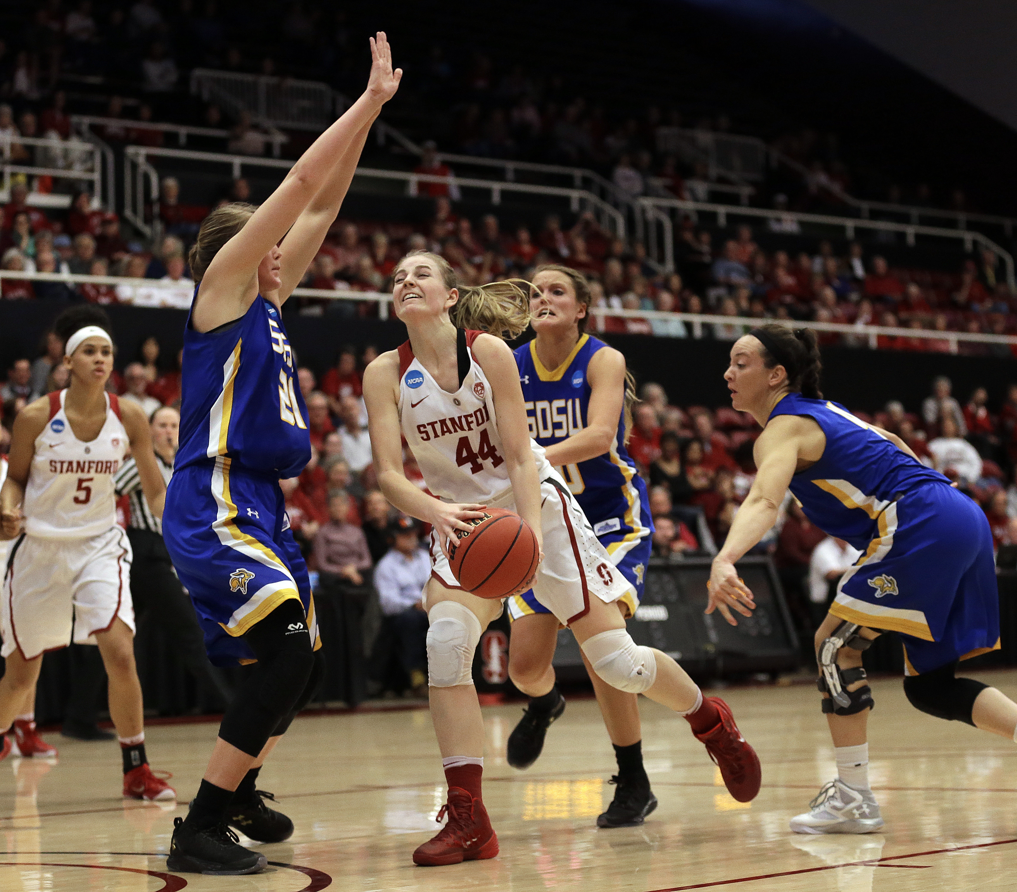 Stanford's Karlie Samuelson (44) looks to shoot against South Dakota State's Clarissa Ober (21) in the first half of a second-round women's college basketball game in the NCAA Tournament, Monday, March 21, 2016, in Stanford, Calif. (AP Photo/Ben Margot)