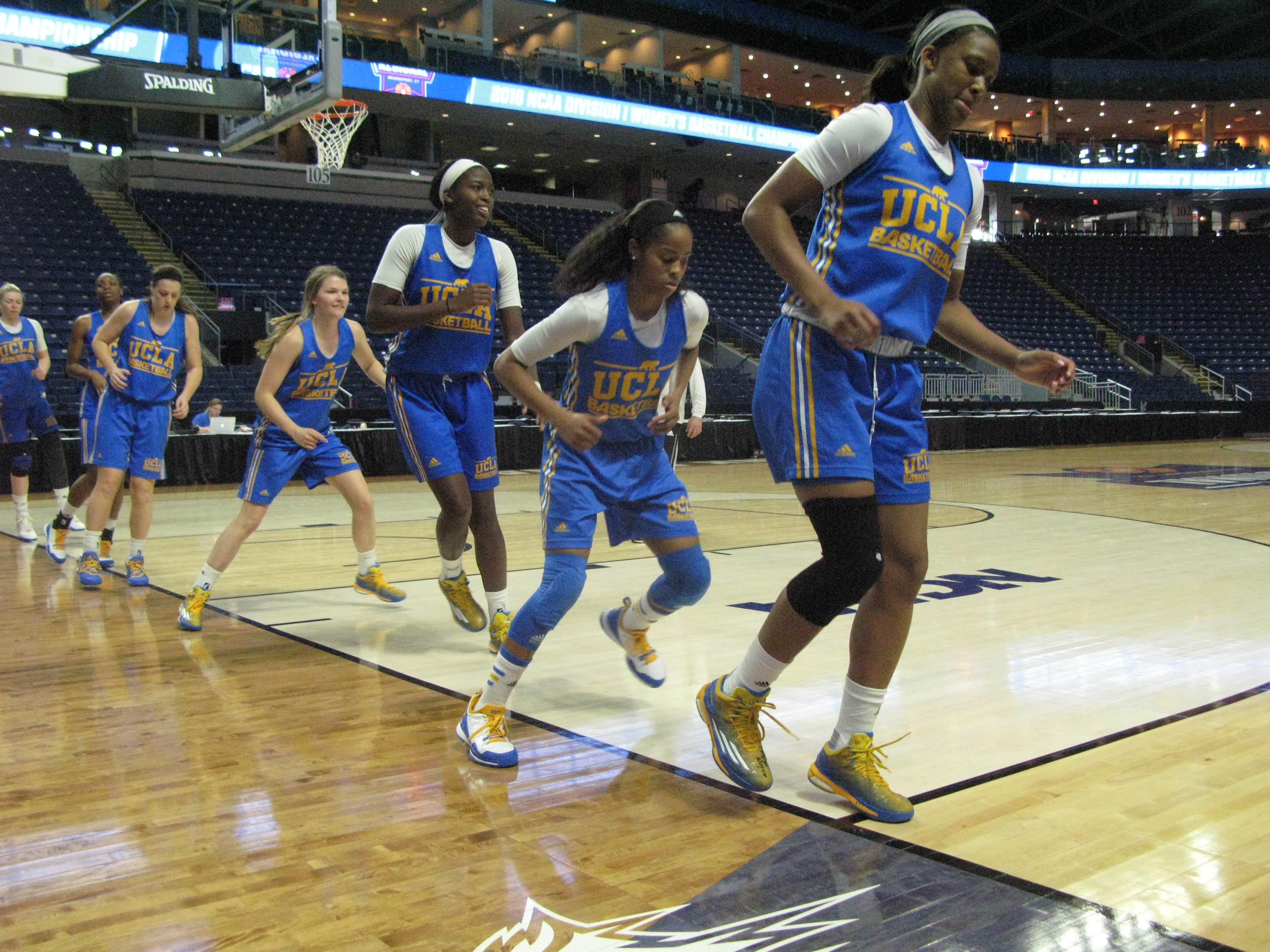 The UCLA women's basketball team warms up before practice on Friday, March 25, 2016, at Webster Bank Arena in Bridgeport, Conn. The Bruins are to face Texas on Saturday in the regional semifinals of the NCAA Tournament. (AP Photo/Pat Eaton-Robb)