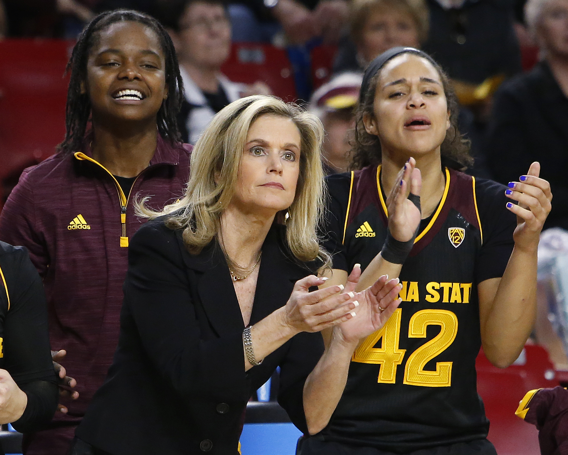 FILE - In this Feb. 5, 2016, file photo, Arizona State coach Charli Turner Thorne and players watch during the team's game against UCLA in Tempe, Ariz. Arizona State played Syracuse, Washington and Oregon State this seasonthree of the teams in the Final F