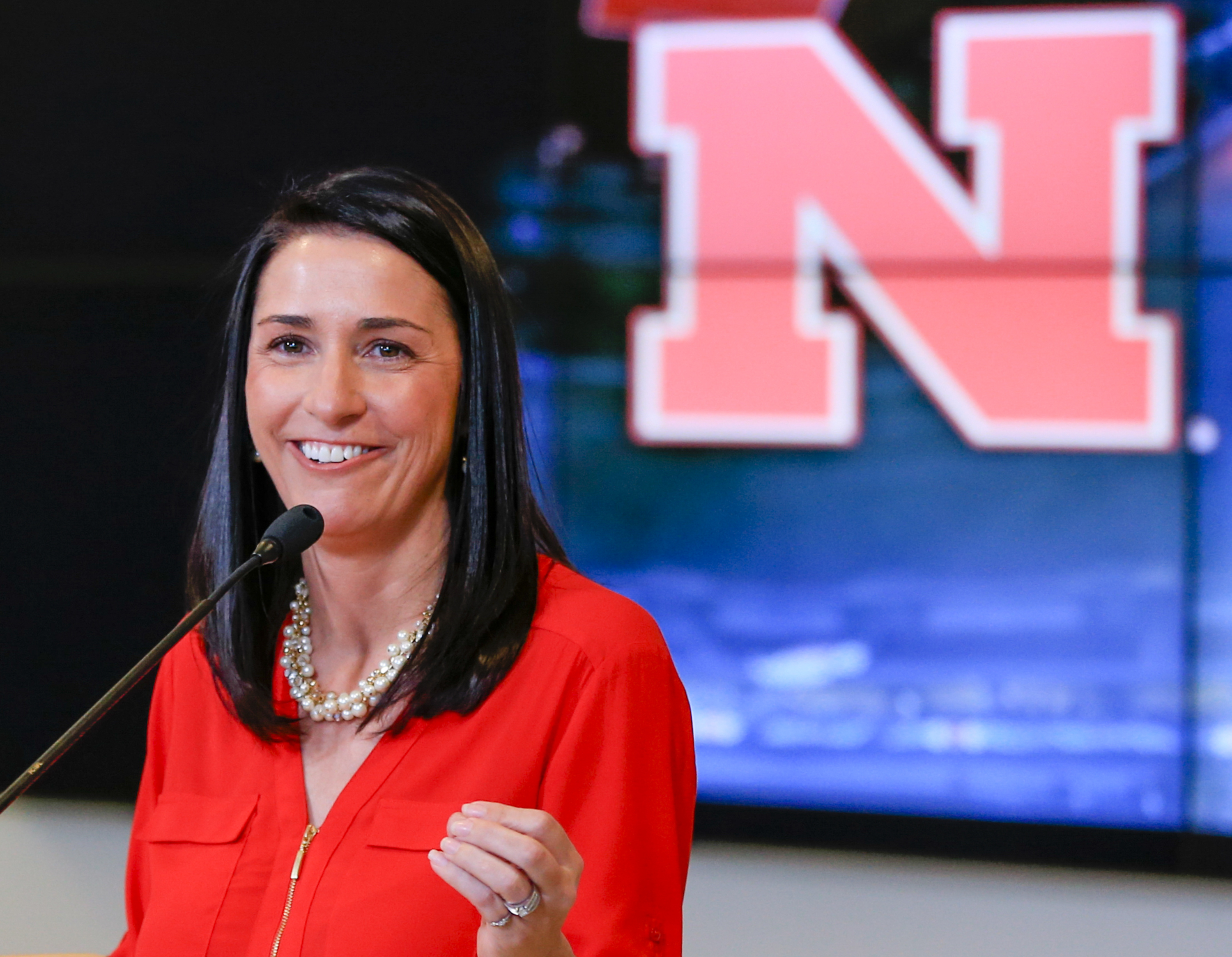 Amy Williams, Nebraska's new women's basketball coach, speaks during an NCAA college basketball news conference where she was introduced, Tuesday, April 12, 2016, in Lincoln, Neb. Williams replaces Connie Yori, who resigned last week amid allegations she
