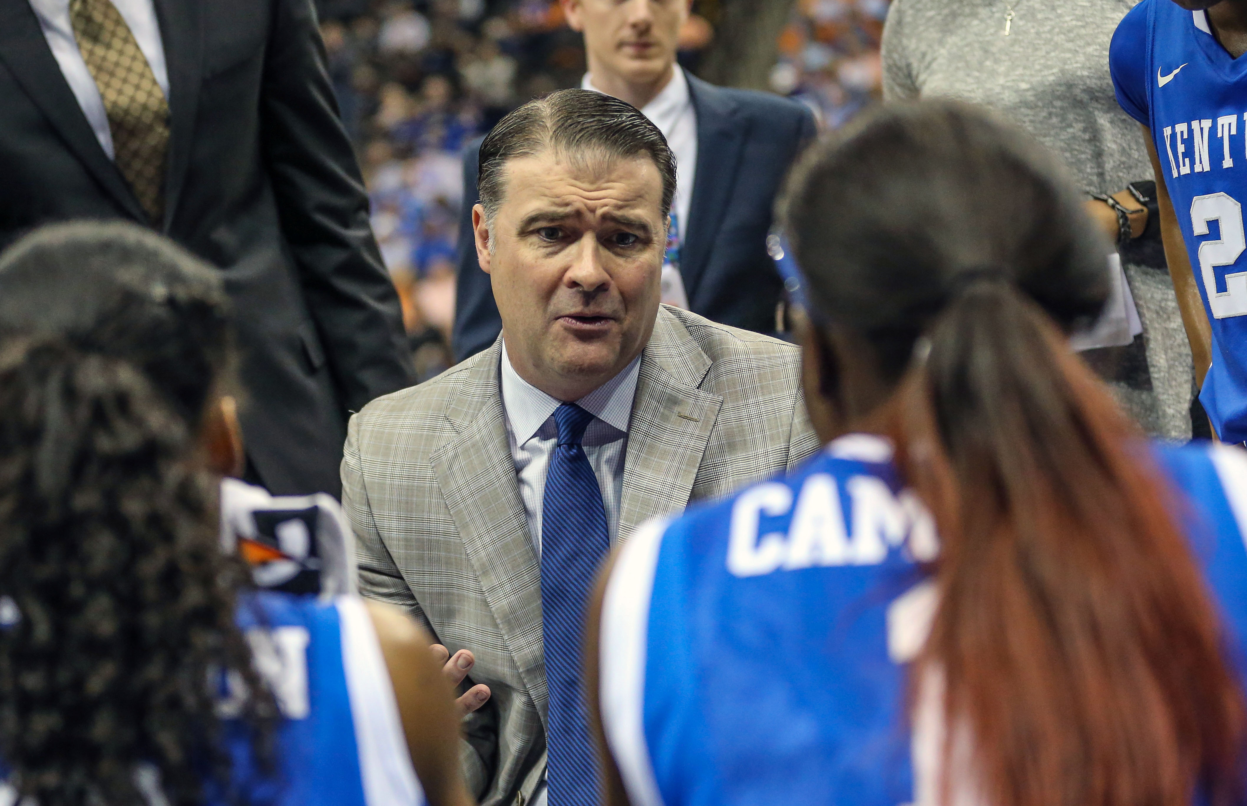 FILe - In this March 4, 2016 file photo, Kentucky head coach Matthew Mitchell speaks with his players during an NCAA college basketball game against Florida in the Southeastern Conference women's tournament in Jacksonville, Fla. Kentucky coach Matthew Mit