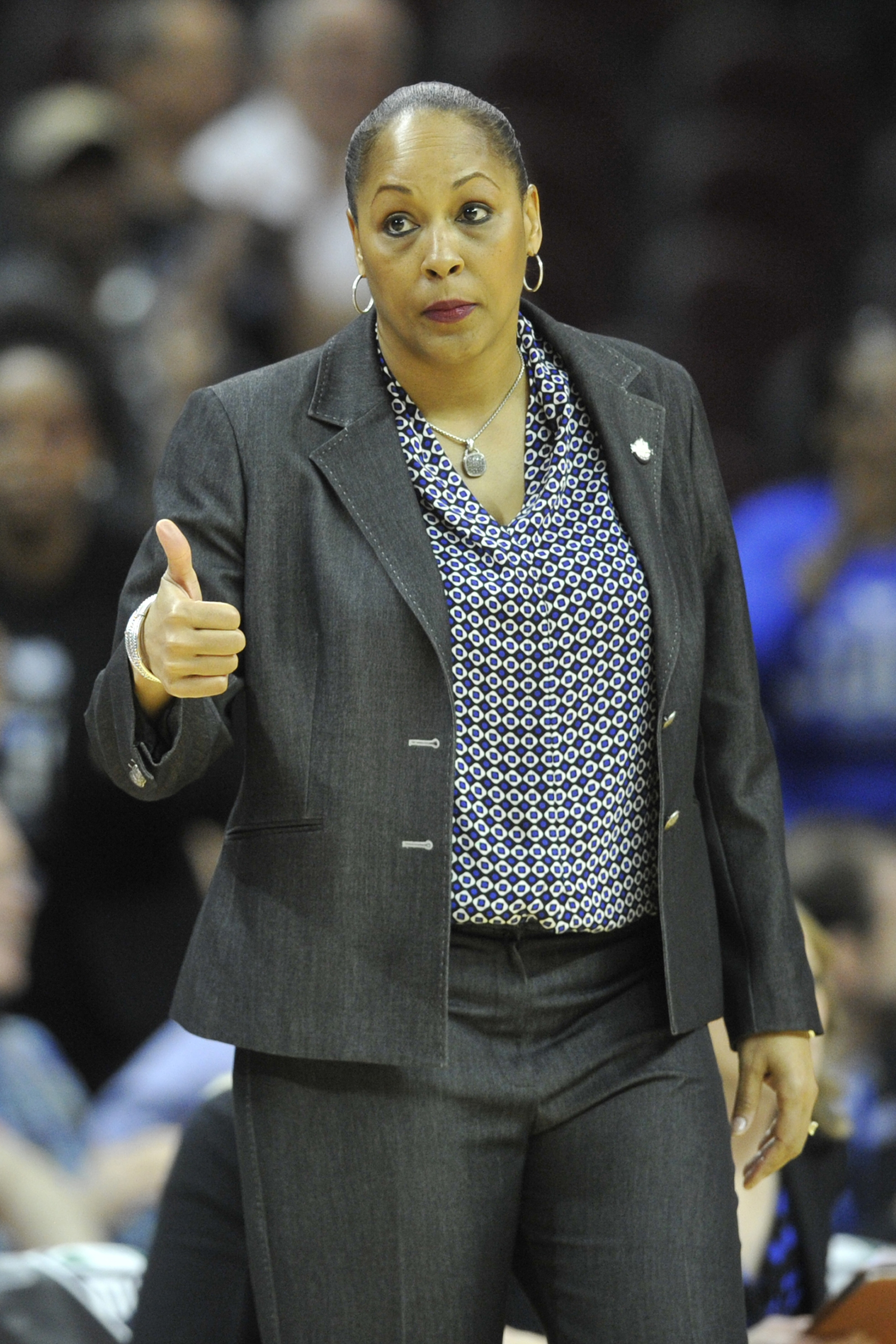 Buffalo head coach Felisha Legette-Jack reacts in the fourth quarter of an NCAA college basketball game against Central Michigan in the championship of the Mid-American Conference women's tournament, Saturday, March 12, 2016, in Cleveland. Buffalo won 73-