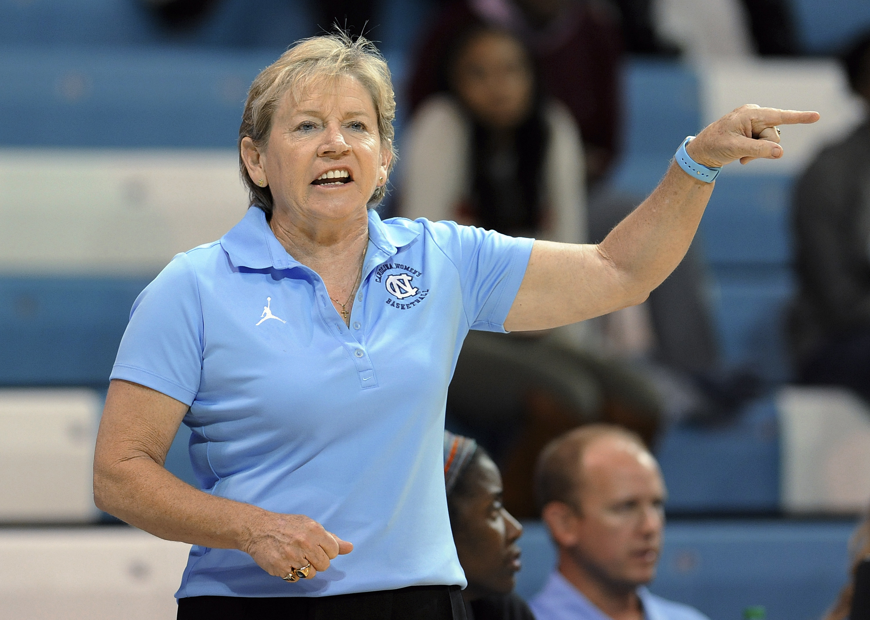 FILE - In this Nov. 4, 2015, file photo, North Carolina coach Sylvia Hatchell reacts to a call during her team's exhibition college basketball game against Wingate in Chapel Hill, NC. UNC announced a two-year extension through the 2019-20 season for Hatch