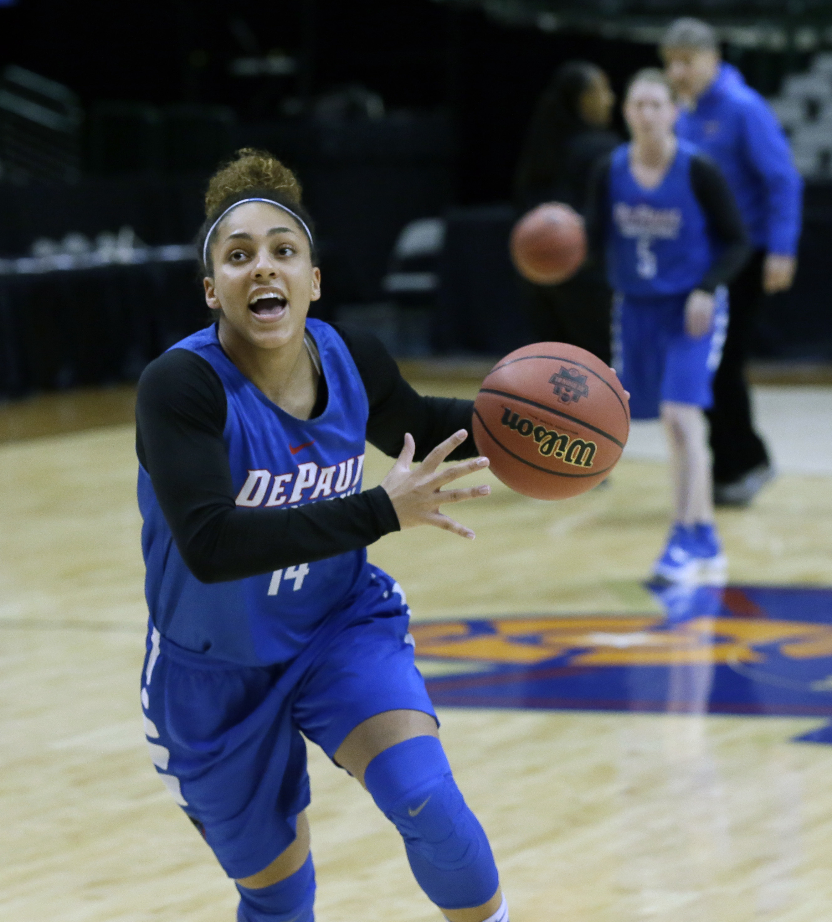 DePaul guard Jessica January (14) drives during a college basketball practice in the regional semifinals of the women's NCAA Tournament Friday, March 25, 2016, in Dallas. Oregon State takes on DePaul on Saturday. (AP Photo/LM Otero)