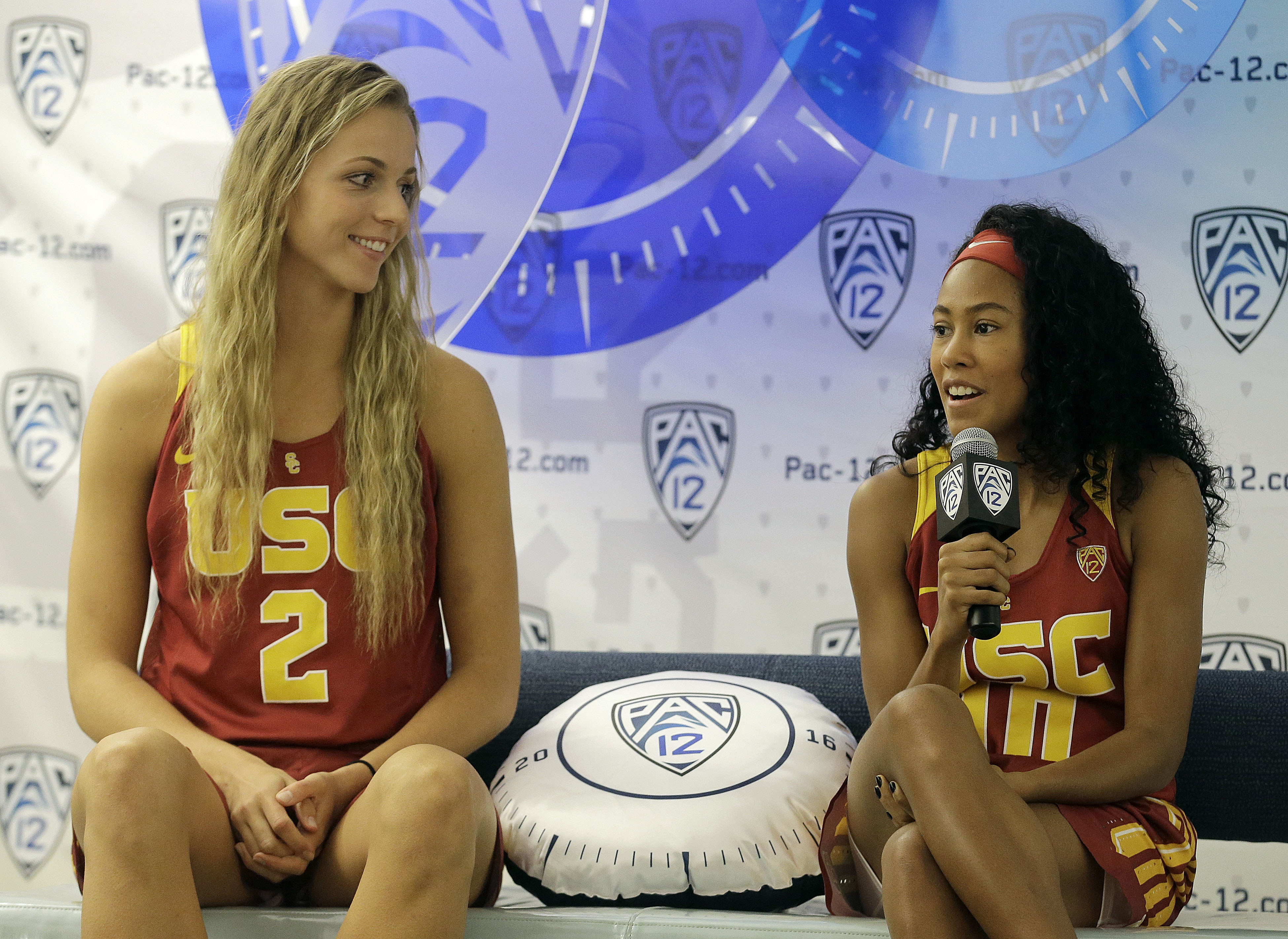 Southern California's Ivana Jakubcova, left, and Courtney Jaco speak during NCAA college basketball Pac-12 media day in San Francisco, Thursday, Oct. 20, 2016. (AP Photo/Jeff Chiu)