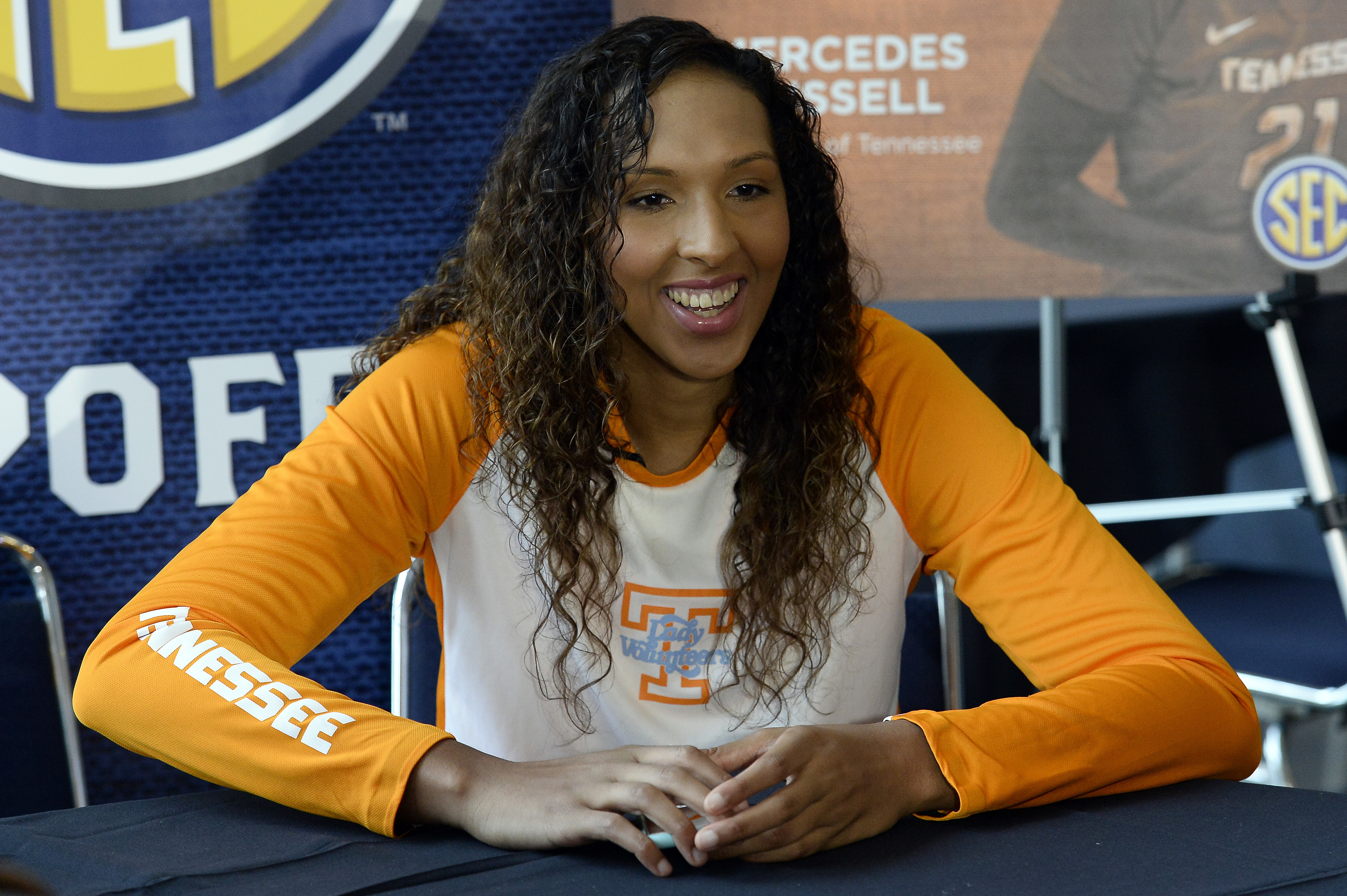 FILE - In this Oct. 20, 2016, file photo, Tennessee center Mercedes Russell answers a question during the Southeastern Conference women's NCAA college basketball media day, in Nashville, Tenn. Tennessee's lack of frontcourt depth means the Lady Volunteers