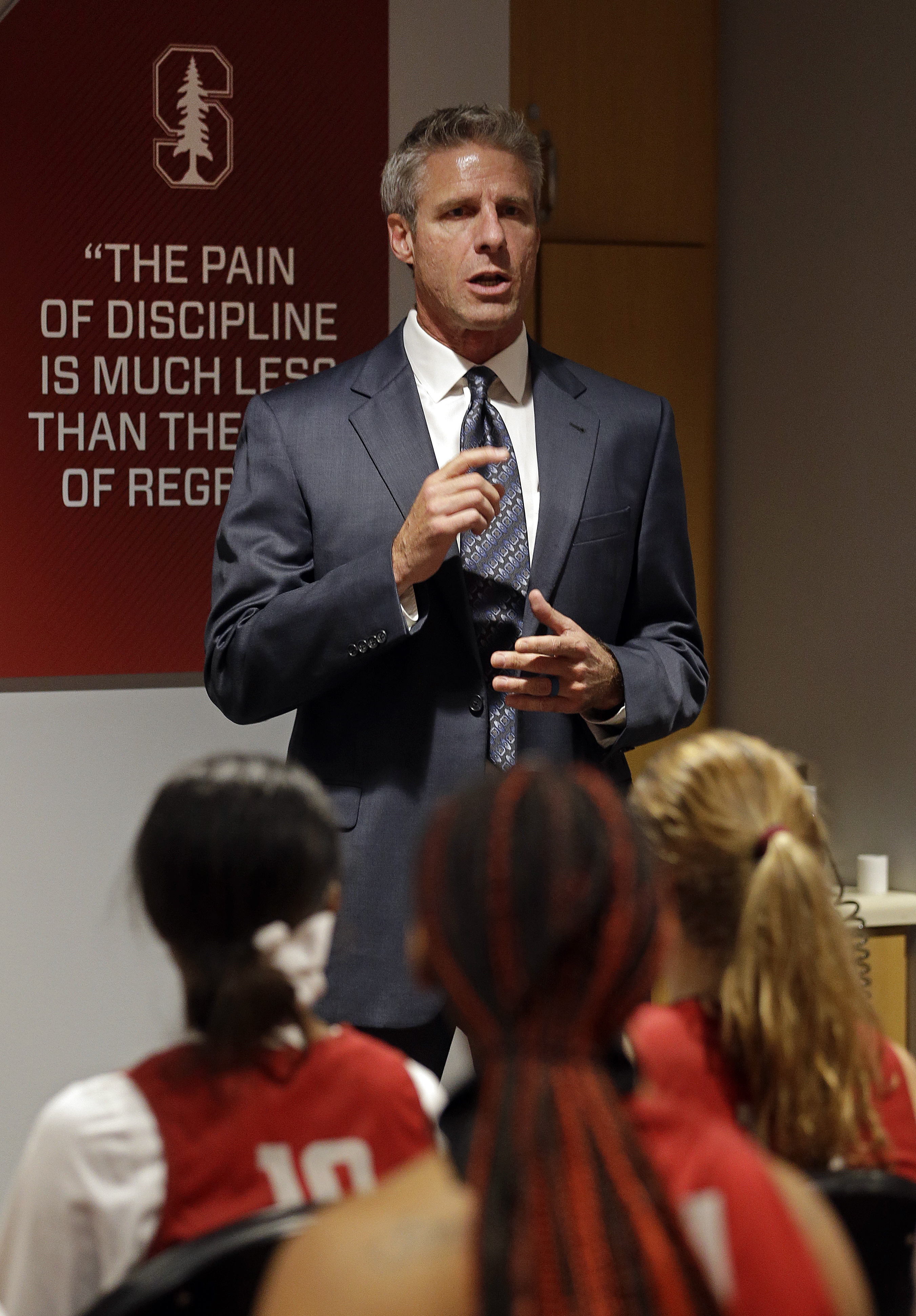 U.S. women's volleyball coach Karch Kiraly speaks to the Stanford women's basketball team Thursday, Nov. 10, 2016, in Stanford, Calif. The Stanford women's basketball team went through an on-campus communication workshop to improve conversation on and off
