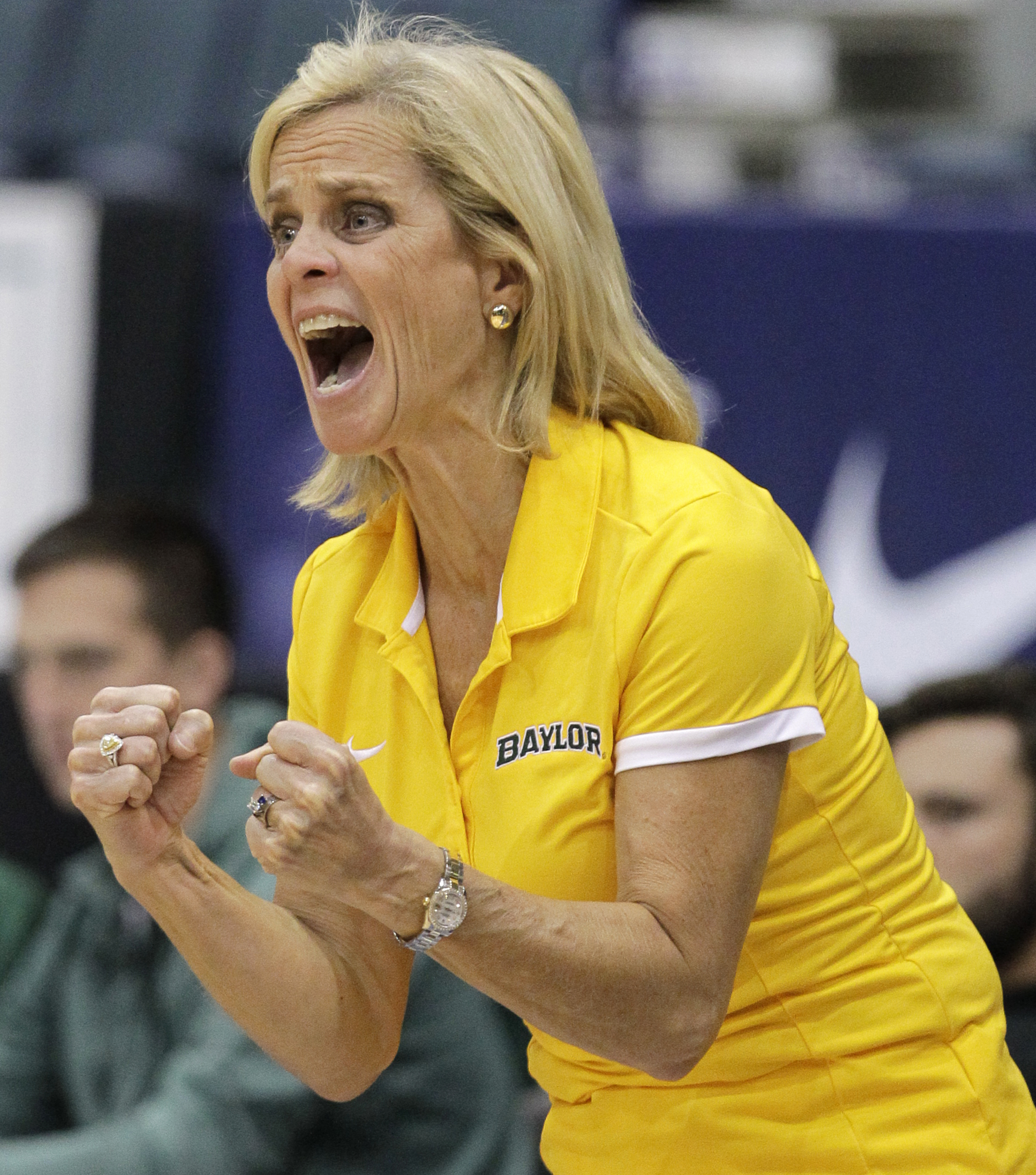 Baylor head coach Kim Mulkey reacts to a play during the second half of an NCAA college basketball game against Ohio State at the Gulf Coast Showcase basketball tournament Sunday, Nov. 27, 2016, in Estero, Fla. (AP Photo/Luis M. Alvarez)