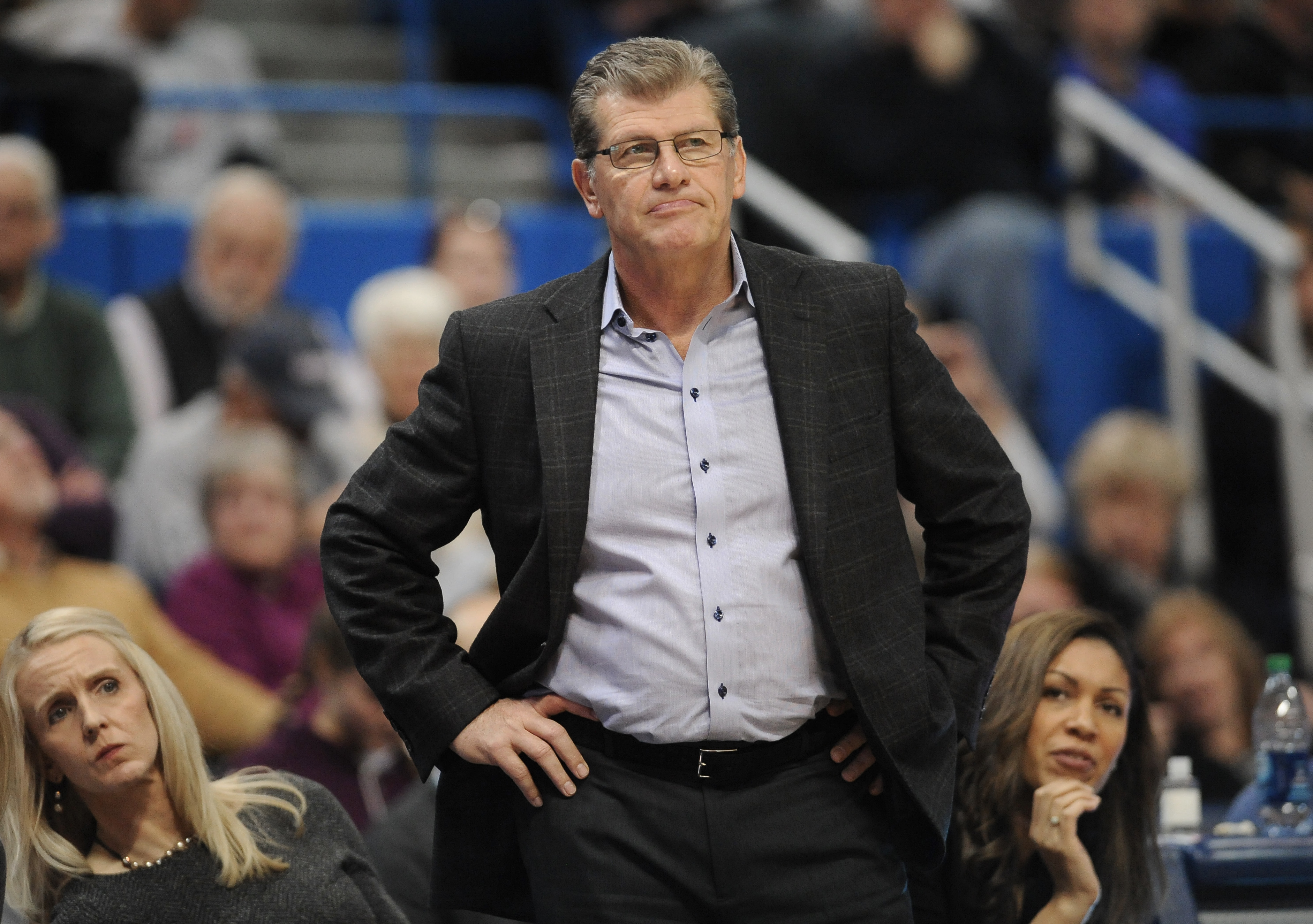 Connecticut head coach Geno Auriemma watches play in the second half of an NCAA college basketball game against Chattanooga, Tuesday, Nov. 29, 2016, in Hartford, Conn. (AP Photo/Jessica Hill)