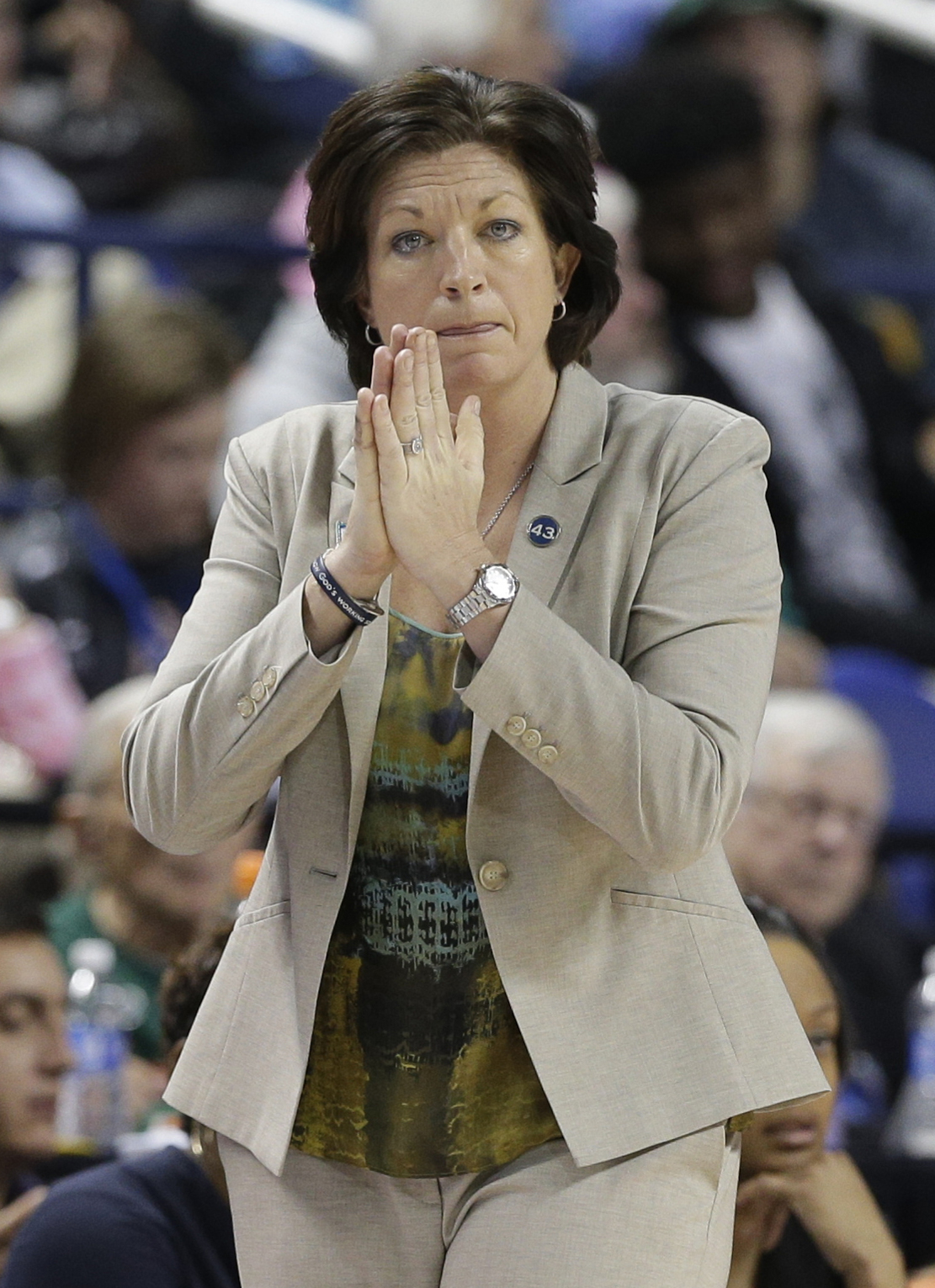 FILE - In a Saturday, March 5, 2016 file photo, Miami head coach Katie Meier watches the action during the second half of an NCAA college basketball game against Notre Dame in the Atlantic Coast Conference tournament in Greensboro, N.C. Miami recruits int