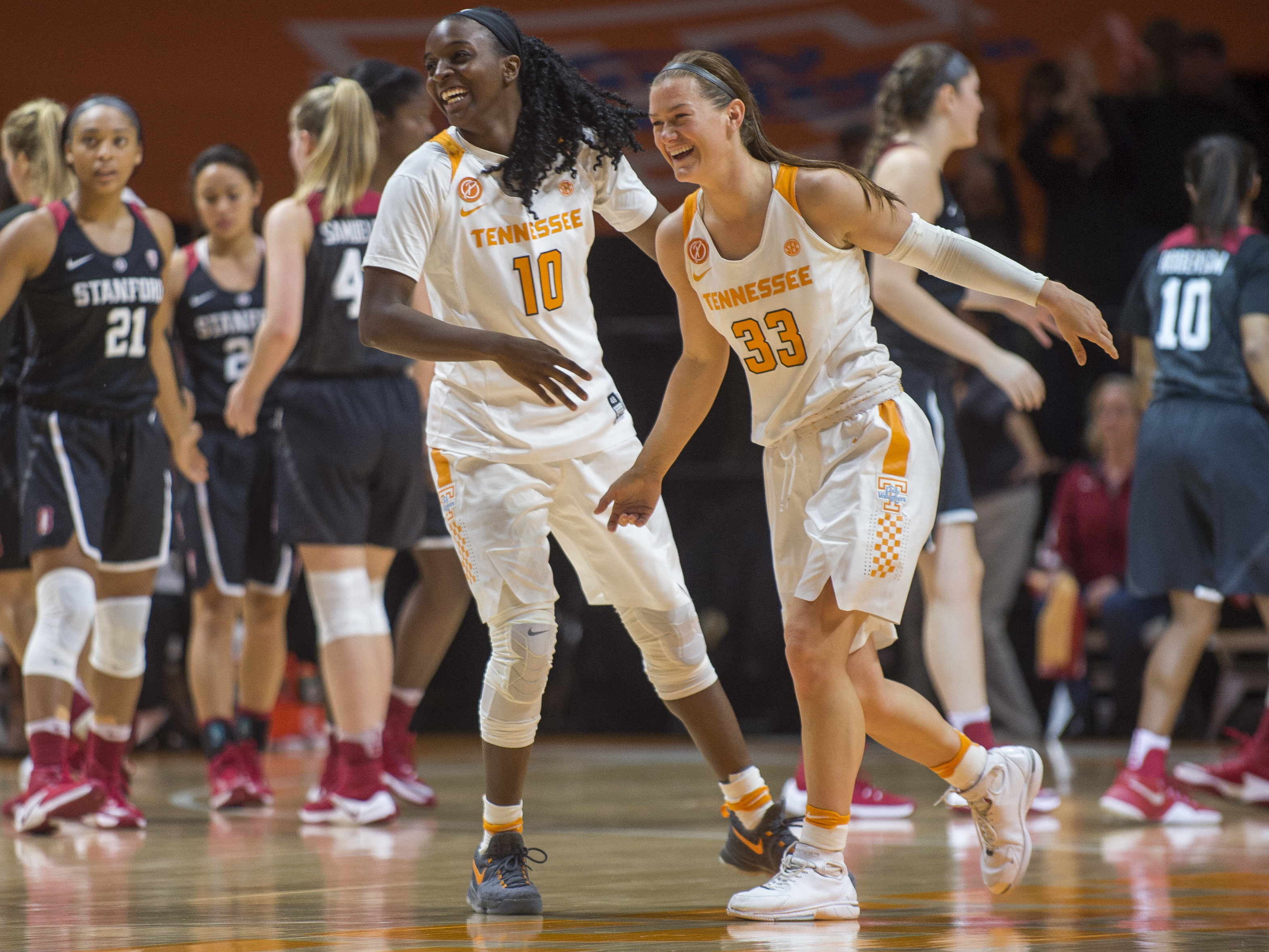 FILE - In this Dec. 18, 2016 file photo, Tennessee's Meme Jackson (10) and Alexa Middleton (33) celebrate their win against Stanford during an NCAA college basketball game in Knoxville, Tenn. After splitting its first eight games and falling out of the To