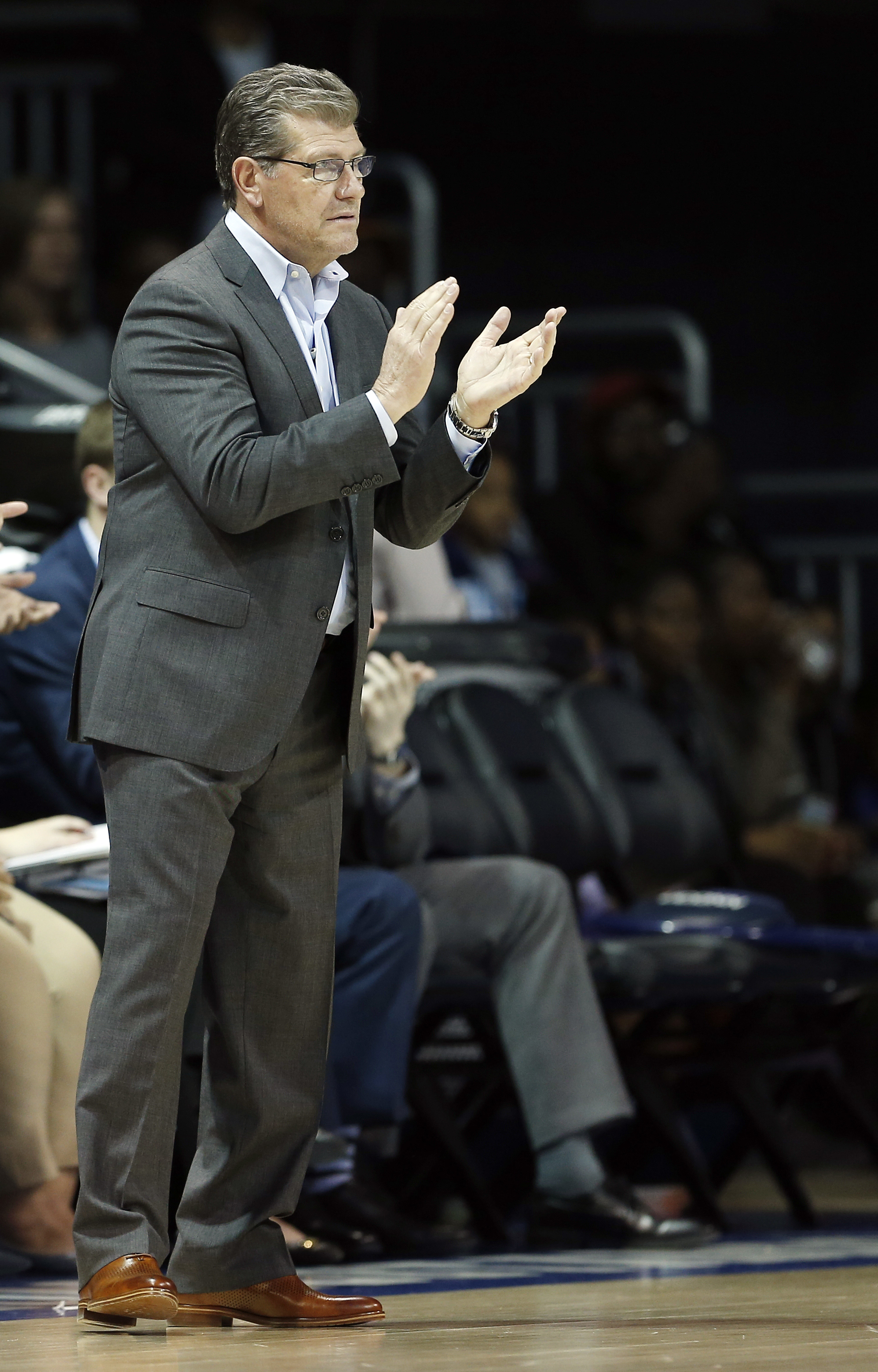 Connecticut head coach Geno Auriemma encourages his team during the first half of an NCAA college basketball game against SMU, Saturday, Jan. 14, 2017, in Dallas. Connecticut won 88-48, their 91st straight win. (AP Photo/Brandon Wade)