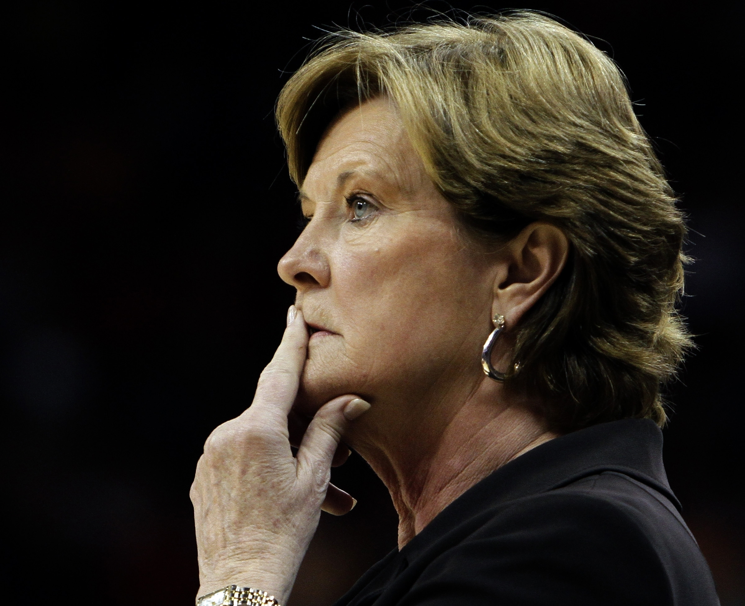 FILE - In this Nov. 12, 2010, file photo, Tennessee coach Pat Summitt watches her team against Louisville in an NCAA college basketball game in Louisville, Ky. For every home game during the fall 2016-17 basketball season, a chair of Tennessees bench is l