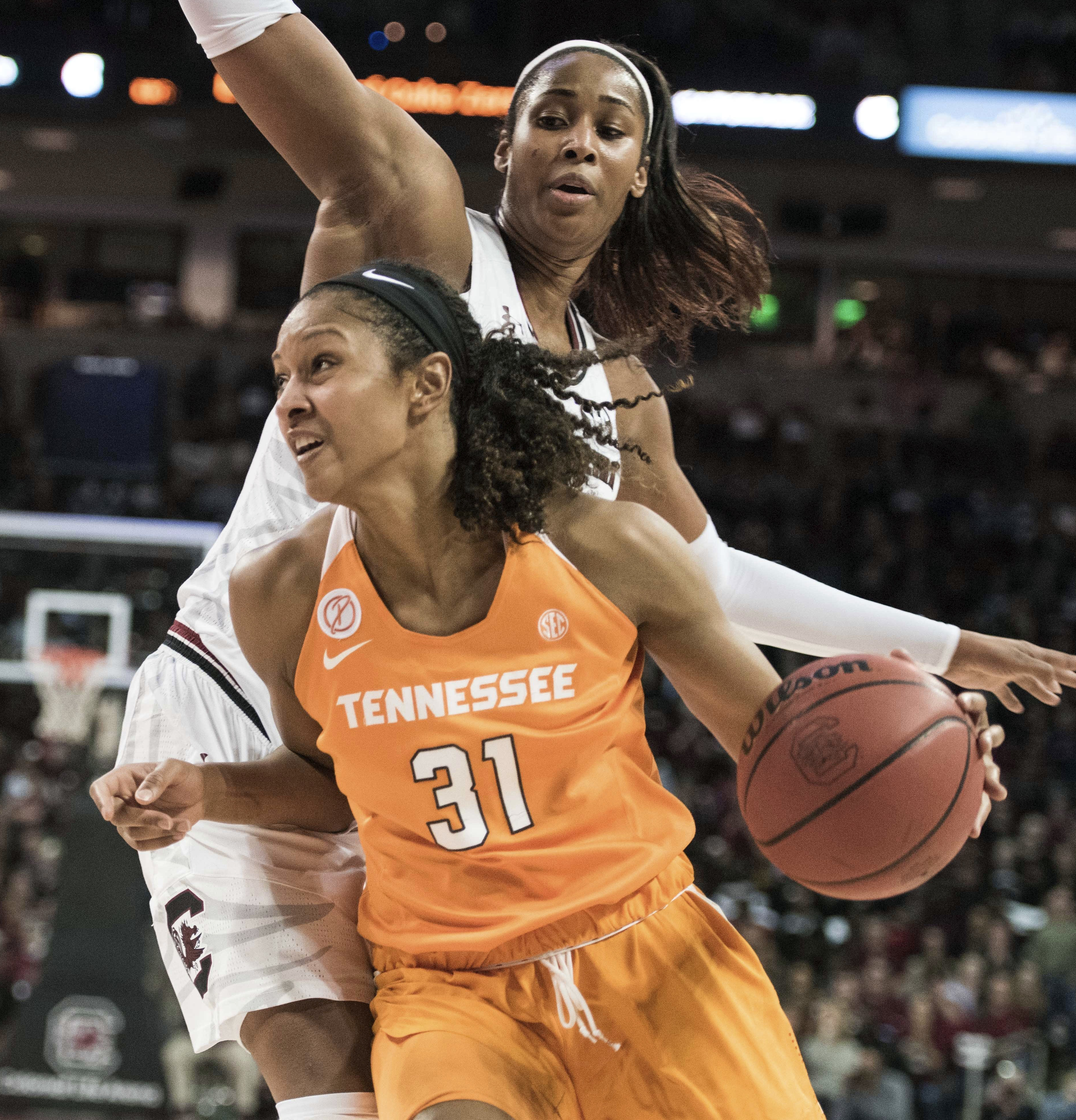 FILE - In this Jan. 30, 2017, file photo, Tennessee forward Jaime Nared (31) drives to the hoop against South Carolina center Alaina Coates, top, during the second half of an NCAA college basketball game in Columbia, S.C. No. 24 Tennessee has overcome its