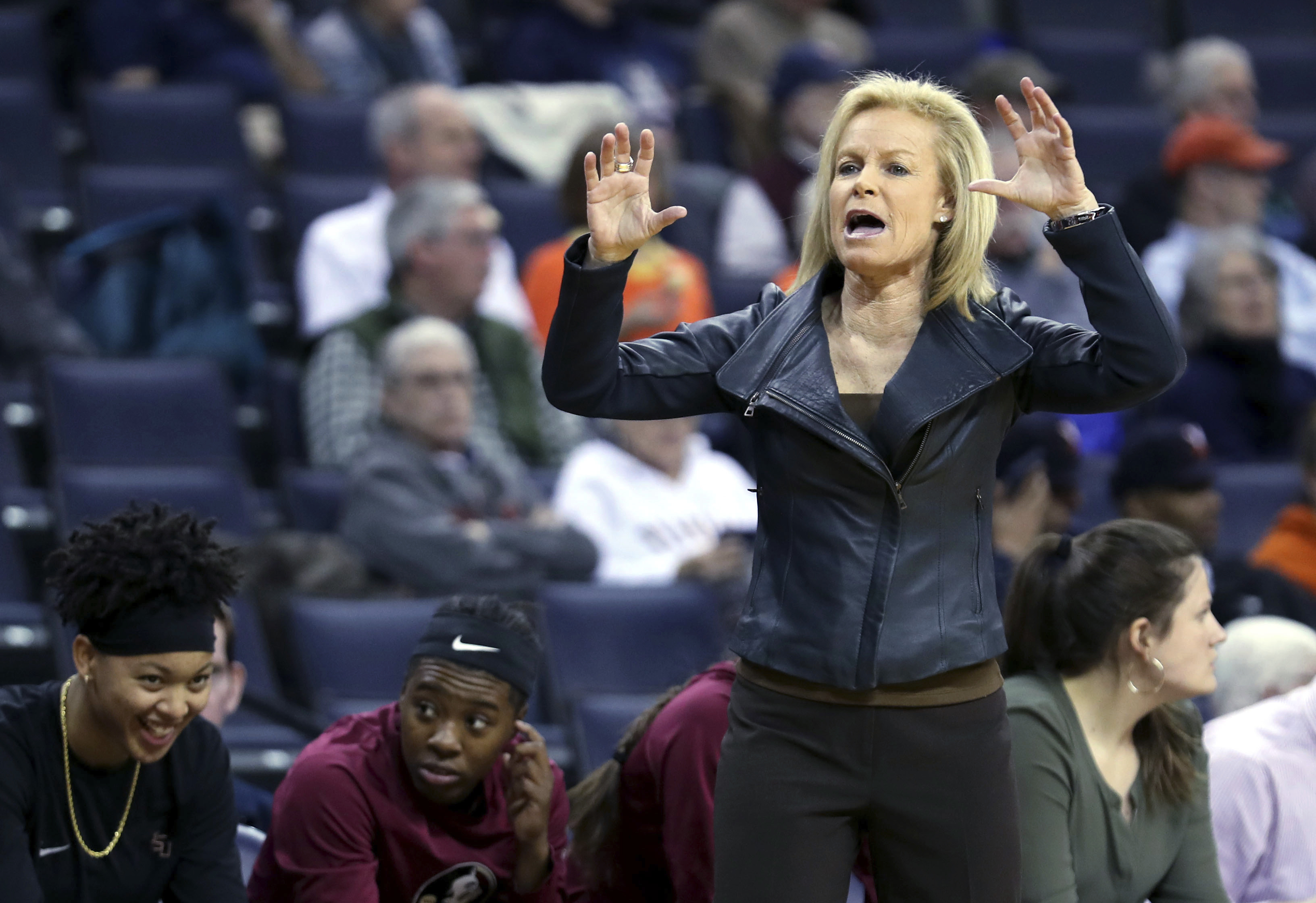 Florida State coach Sue Semrau calls a play during the first half of the team's NCAA college basketball game against Virginia on Thursday, Feb. 16, 2017, in Charlottesville, Va. (AP Photo/Ryan M. Kelly)