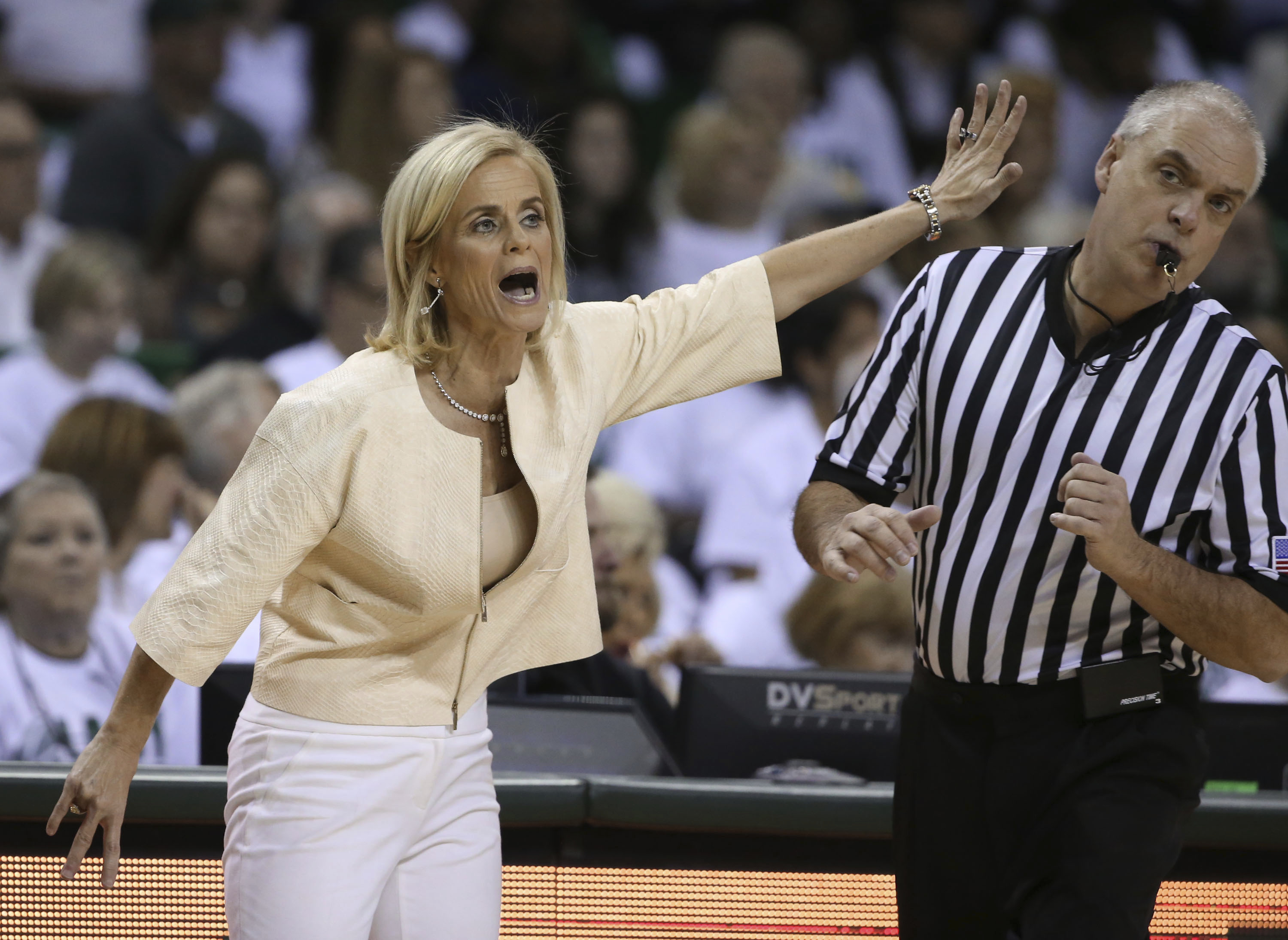Baylor head women's coach Kim Mulkey calls in a play during the second half of an NCAA college basketball game against Texas Tech, Saturday, Feb. 25, 2017, in Waco, Texas. Baylor won 86-48. (AP Photo/Rod Aydelotte)