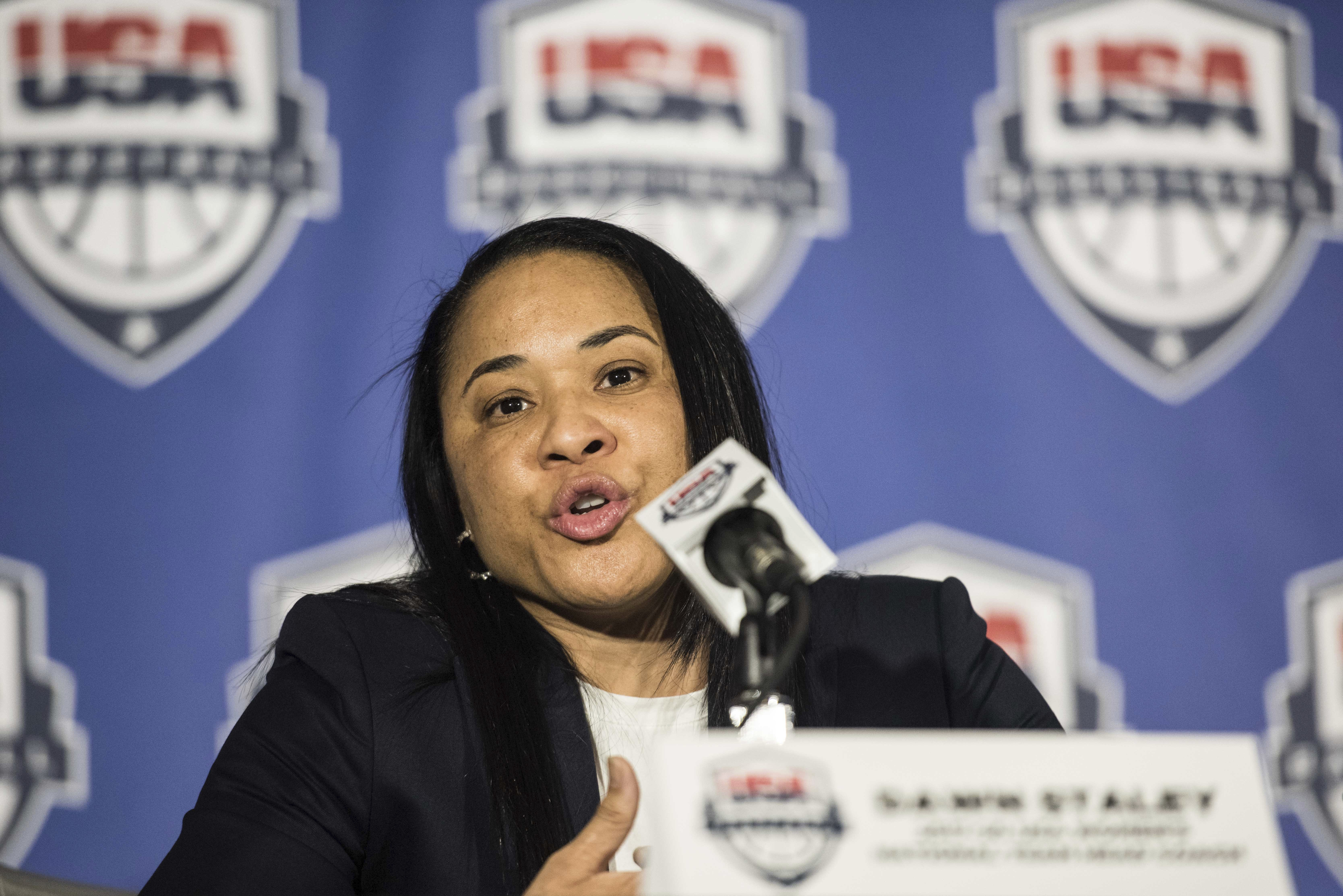 South Carolina women's head basketball coach Dawn Staley addresses the media during a press conference at Williams Brice Stadium, Friday, March 10, 2017, in Columbia, S.C. Staley has been named the women's national team head coach for the 2020 Olympic gam