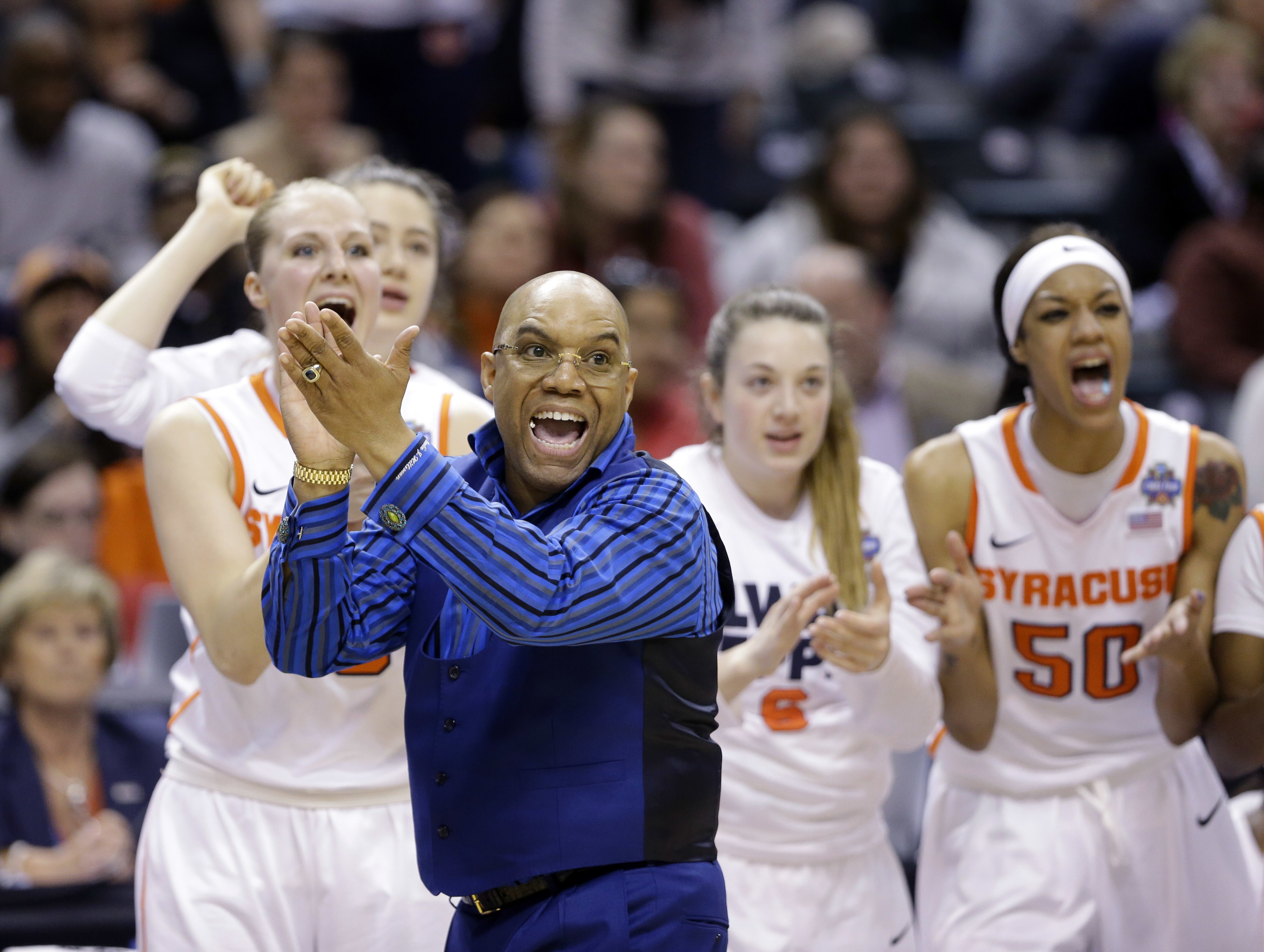 FILE - In this April 3, 2016, file photo, Syracuse head coach Quentin Hillsman cheers during the second half of a national semifinal game against Washington at the women's Final Four in the NCAA college basketball tournament in Indianapolis. Taking Syracu