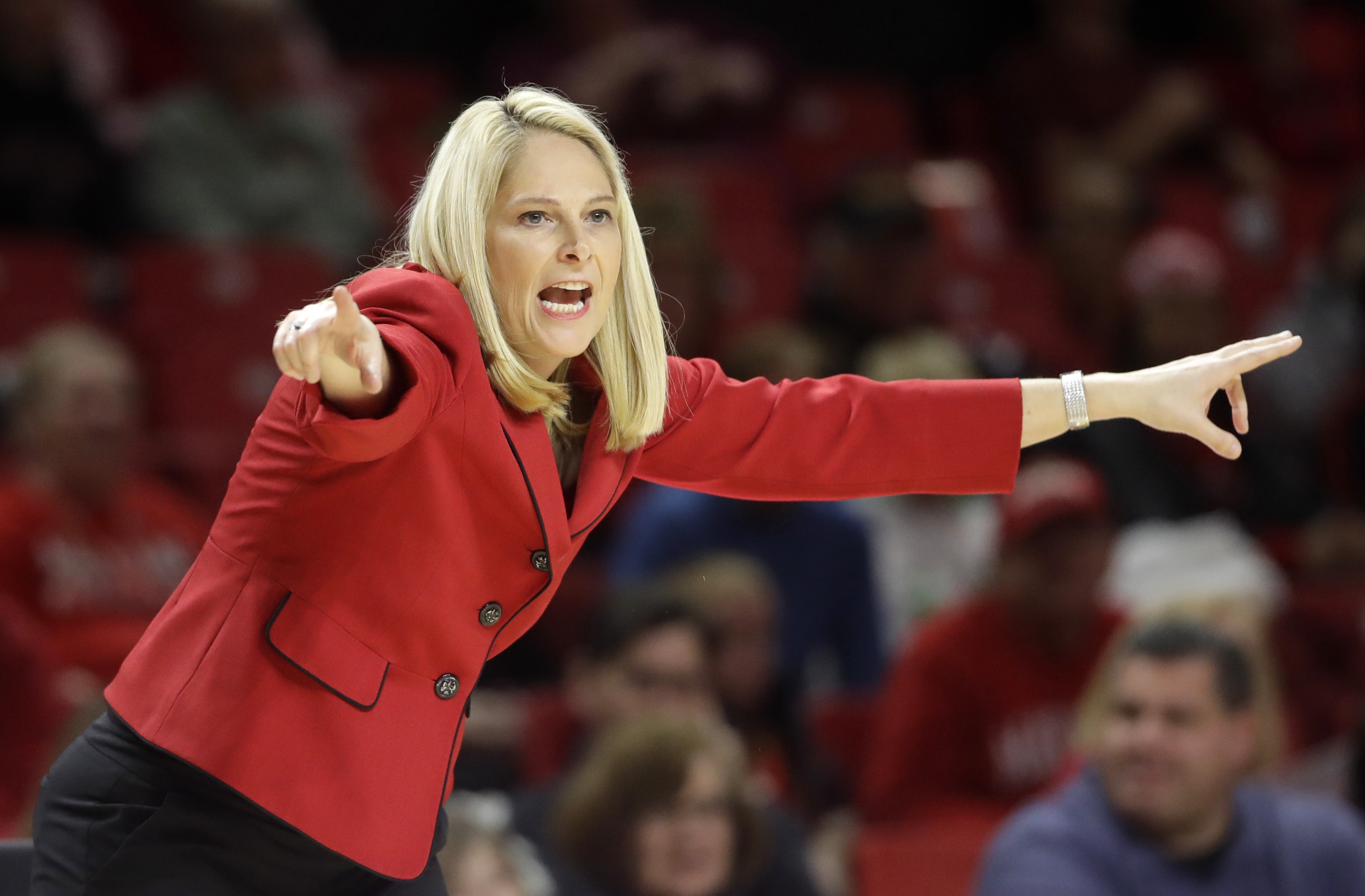 FILE - In this Jan. 7, 2017, file photo, Maryland head coach Brenda Frese directs her players in the first half of an NCAA college basketball game against Northwestern,  in College Park, Md. The journey for Maryland (30-2) begins Friday against Bucknell (