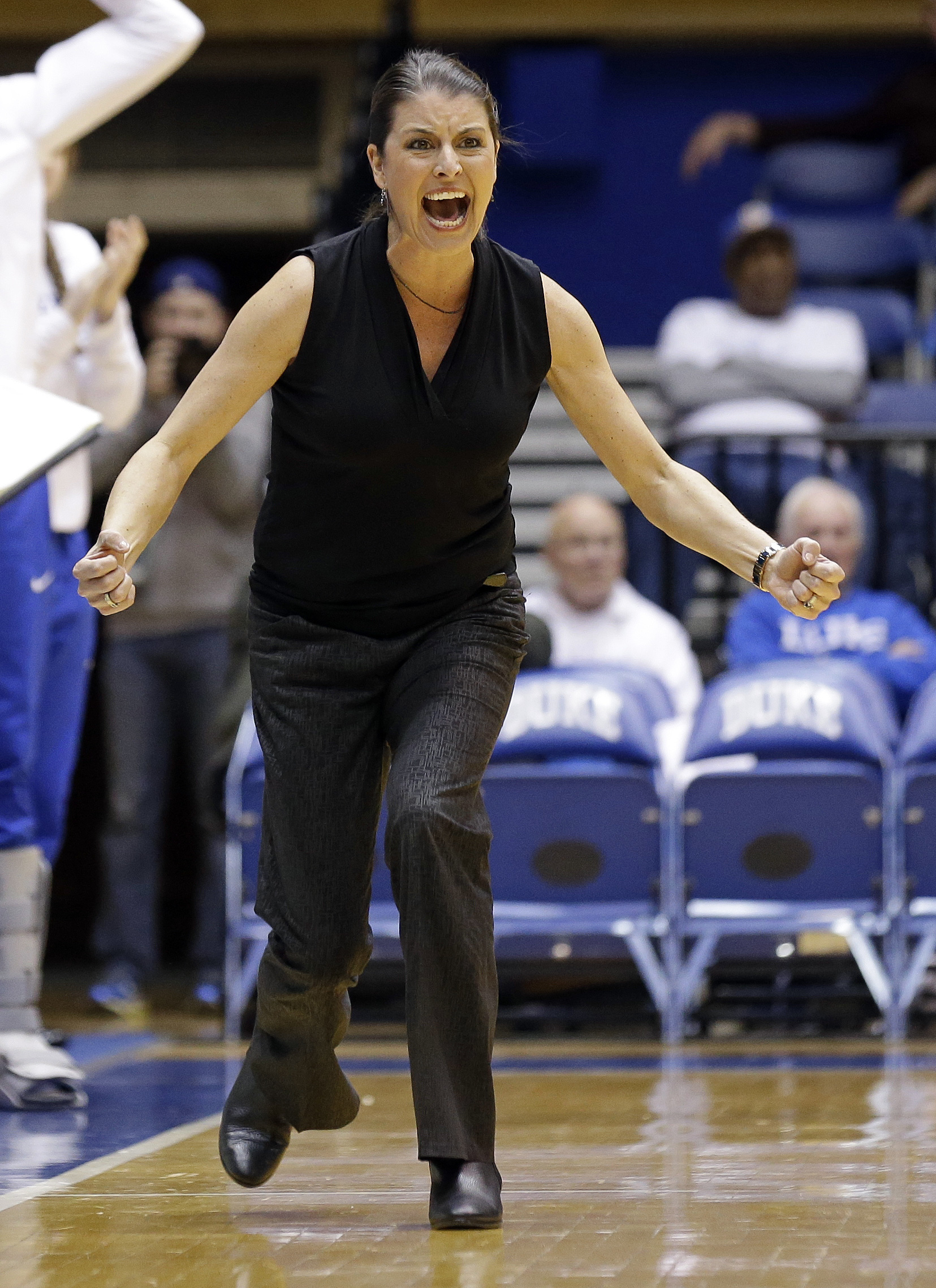 FILE - In this Feb. 11, 2016, file photo, Duke coach Joanne P. McCallie reacts during the second half of an NCAA college basketball game against Florida State, in Durham, N.C. After a one-year absence, the Blue Devils mark their return to the postseason S