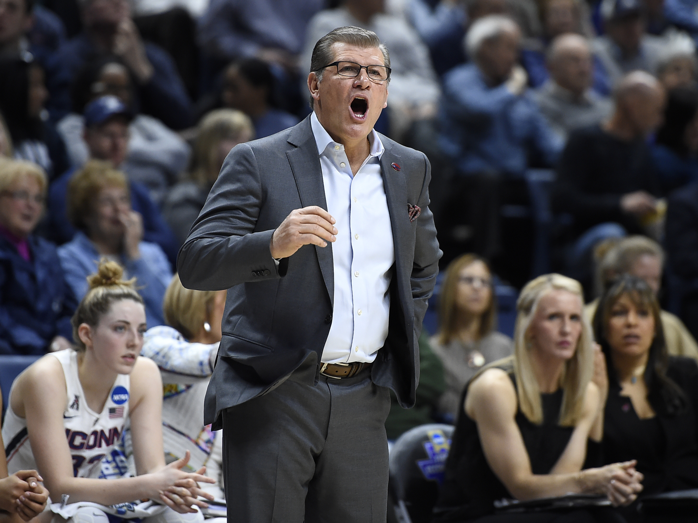 Connecticut head coach Geno Auriemma calls out to his team during the first half of a first round round of a women's college basketball game against Albany in the NCAA Tournament, Saturday, March 18, 2017, in Storrs, Conn. (AP Photo/Jessica Hill)