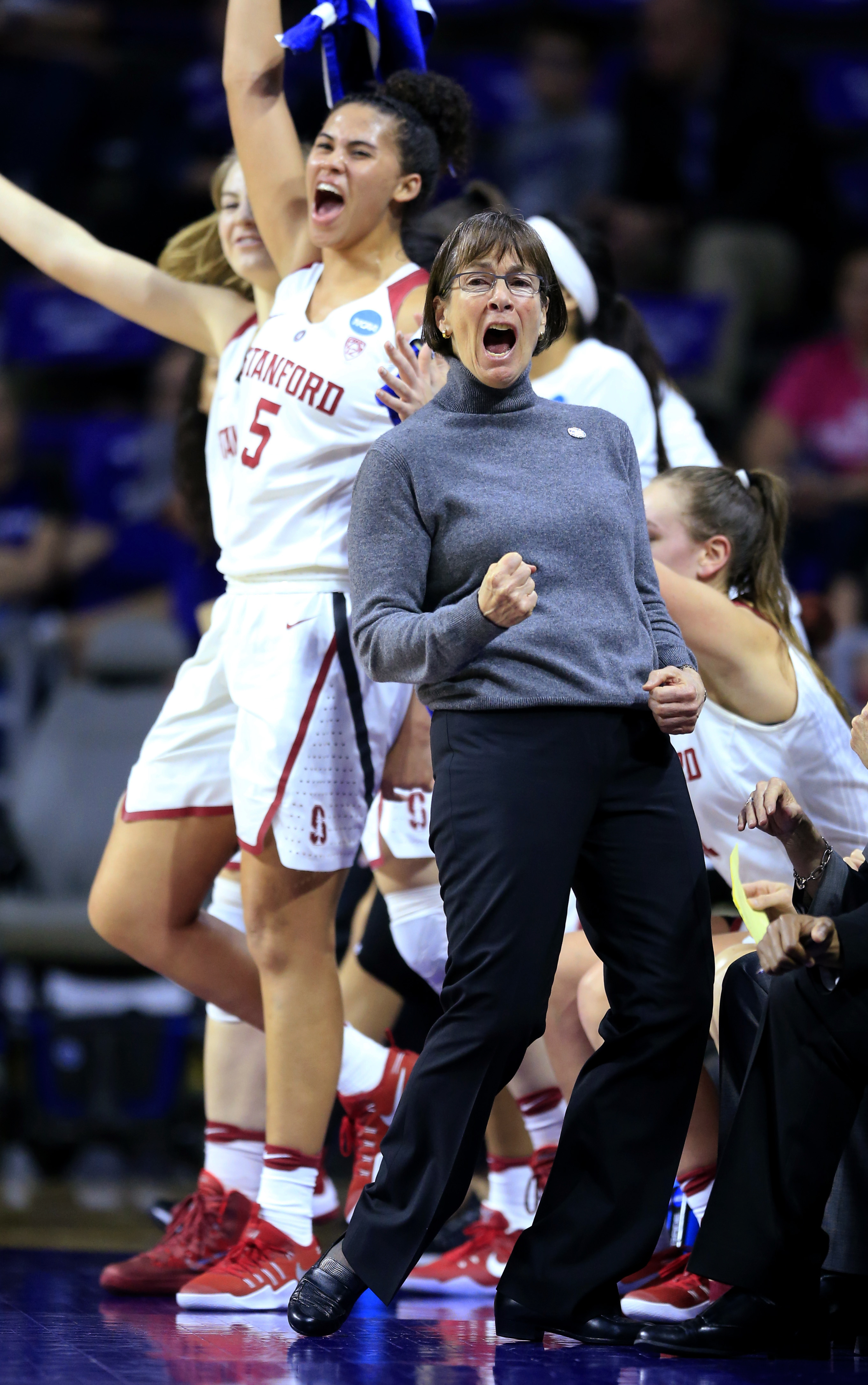 Stanford coach Tara VanDerveer celebrates a basket with her team during the first half of a second-round game against Kansas State in the NCAA women's college basketball tournament in Manhattan, Kan., Monday, March 20, 2017. (AP Photo/Orlin Wagner)