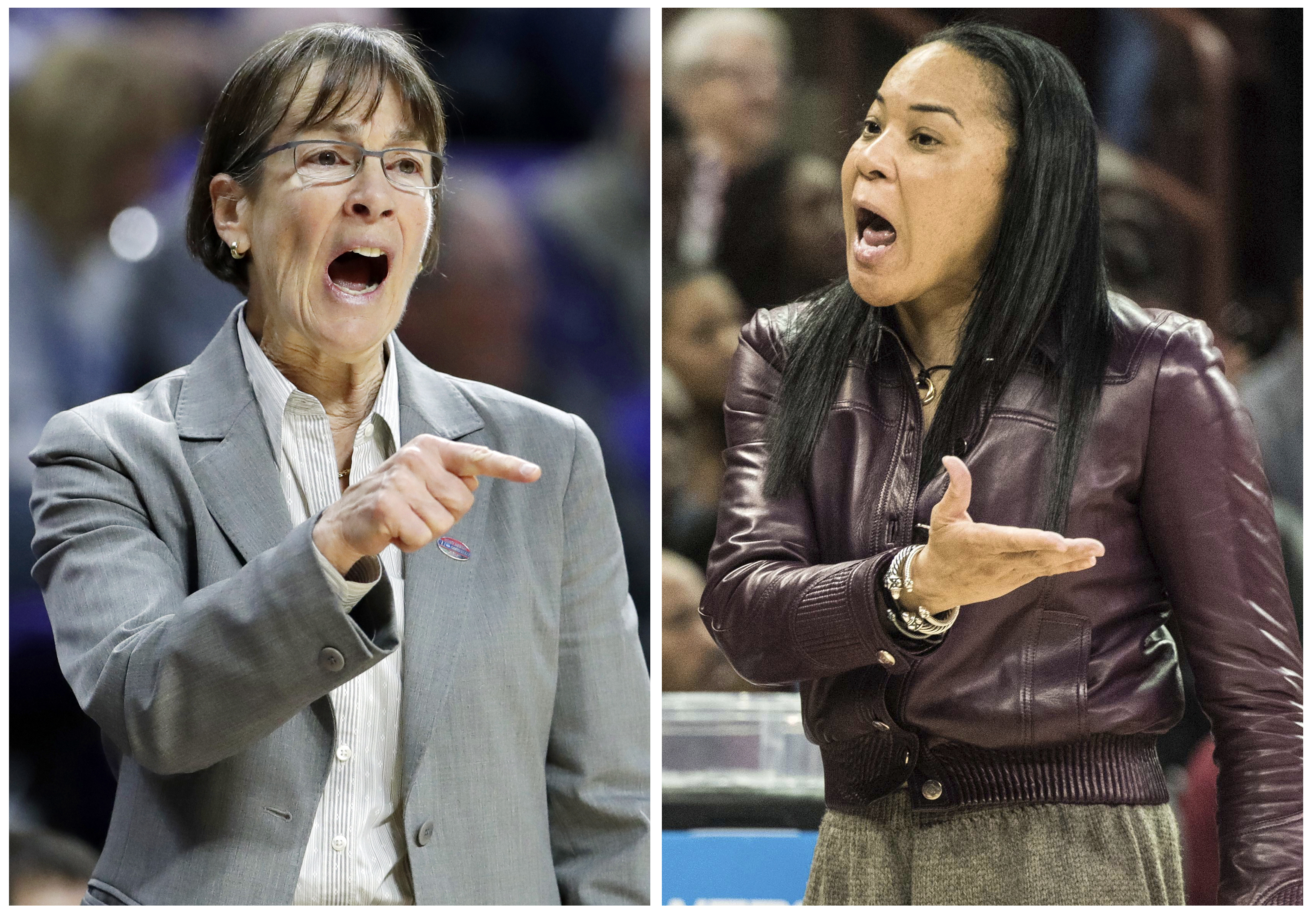 FILE - Stanford head coach Tara VanDerveer, left, directs her players in this March 18, 2017, file photo, in Manhattan, Kan. South Carolina coach Dawn Staley talks to an official in this March 19, 2017, file photo, in Columbia, S.C. The coaches in the wom