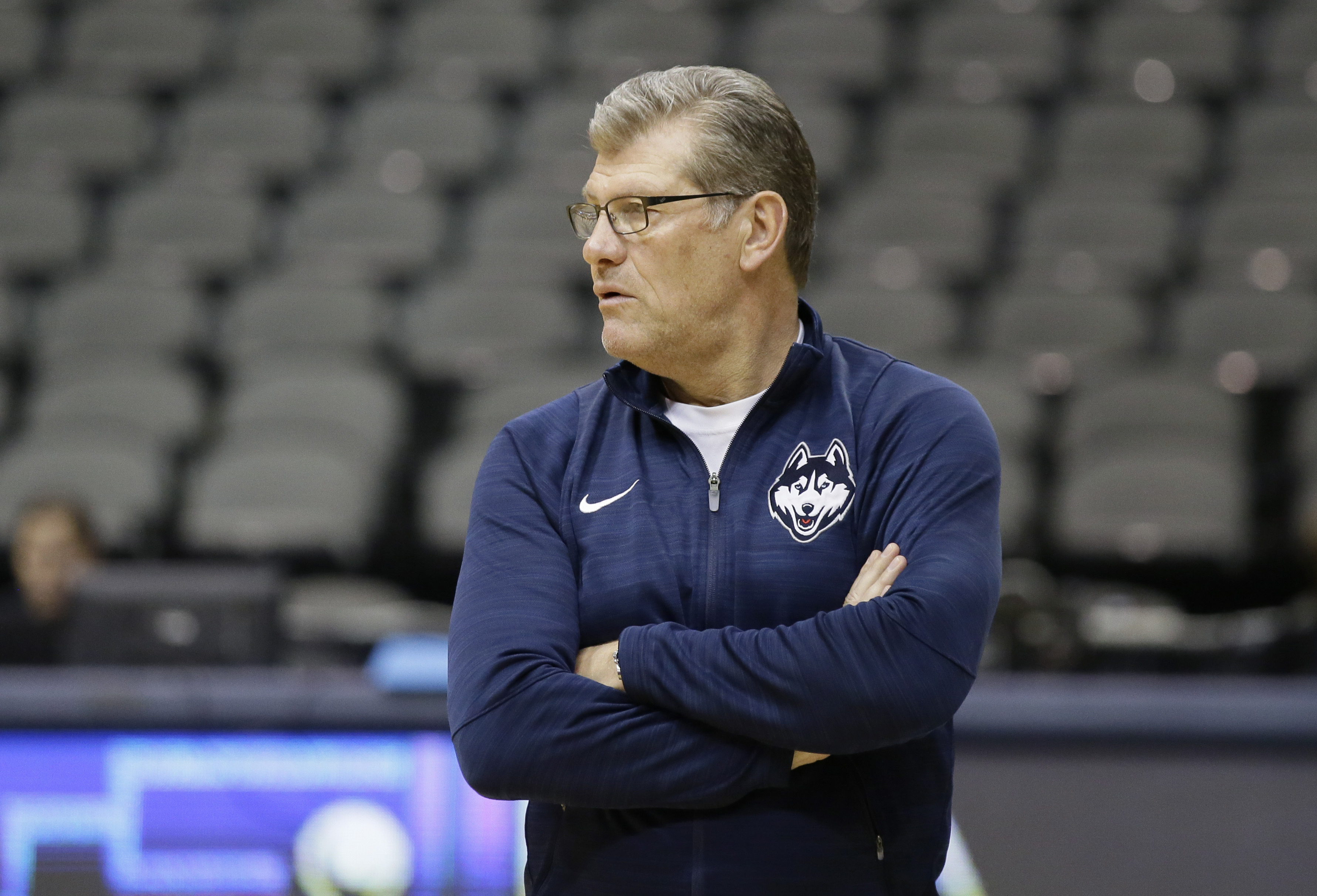 Connecticut head coach Geno Auriemma watches over his team a practice session for the women's NCAA Final Four college basketball tournament, Thursday, March 30, 2017, in Dallas. UConn will play Mississippi State on Friday. (AP Photo/LM Otero)