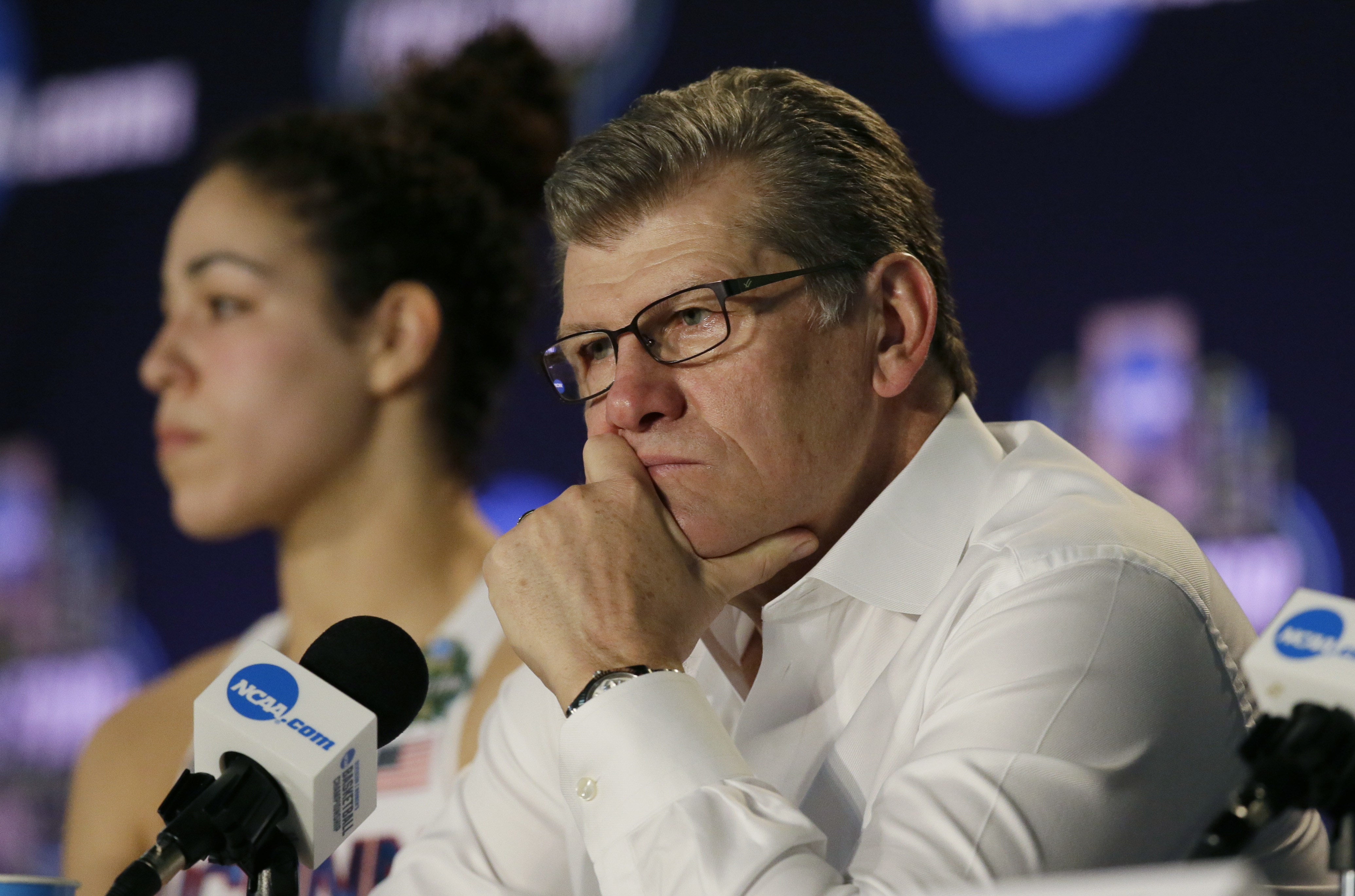 Connecticut head coach Geno Auriemma talks with the media following their loss to Mississippi State in an NCAA college basketball game in the semifinals of the women's Final Four, Friday, March 31, 2017, in Dallas. Mississippi State won 66-64. (AP Photo/L